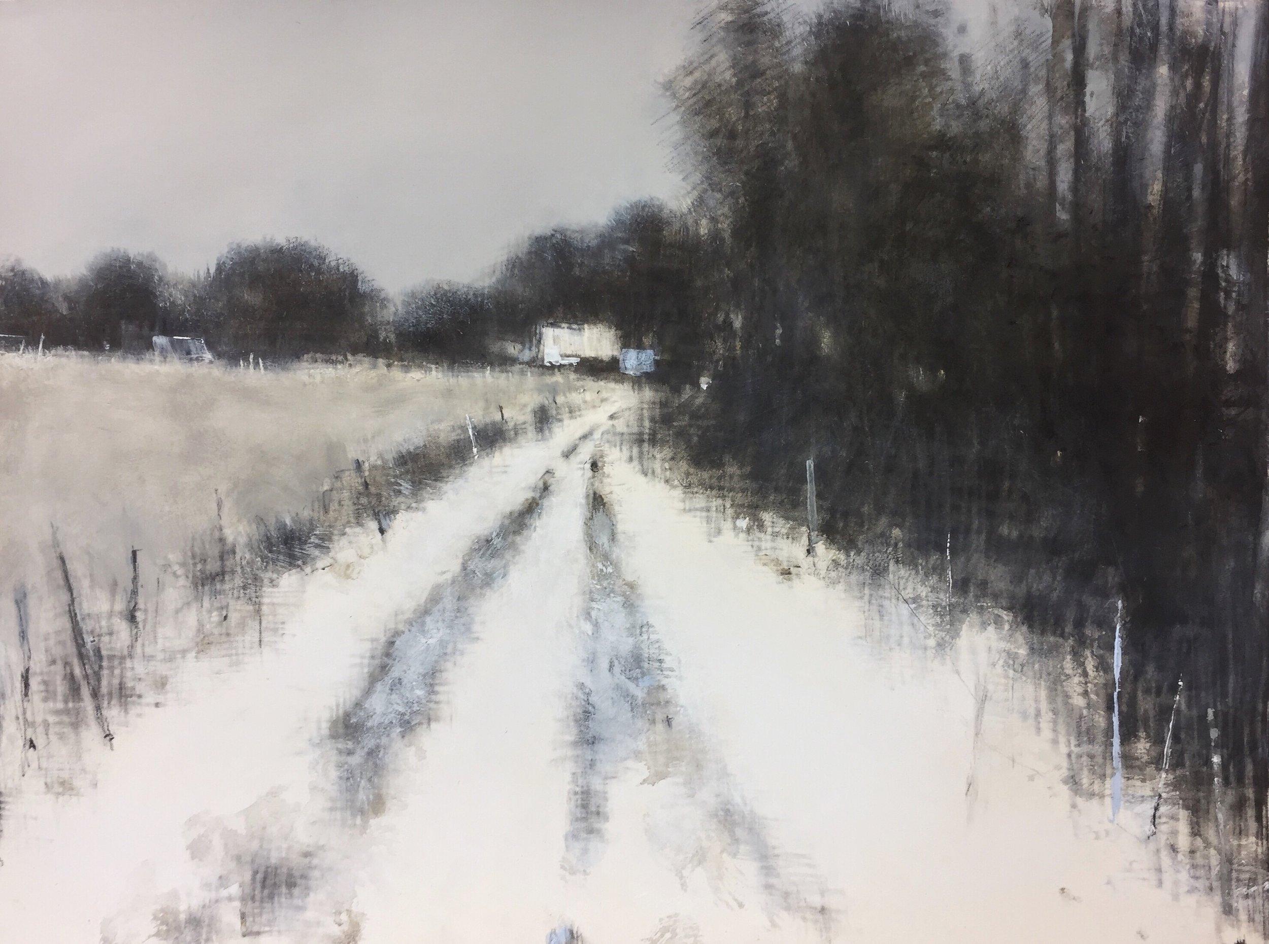 Farm Track, Winter.  57 x 77cm. Graphite, oil and gesso on paper  Sold