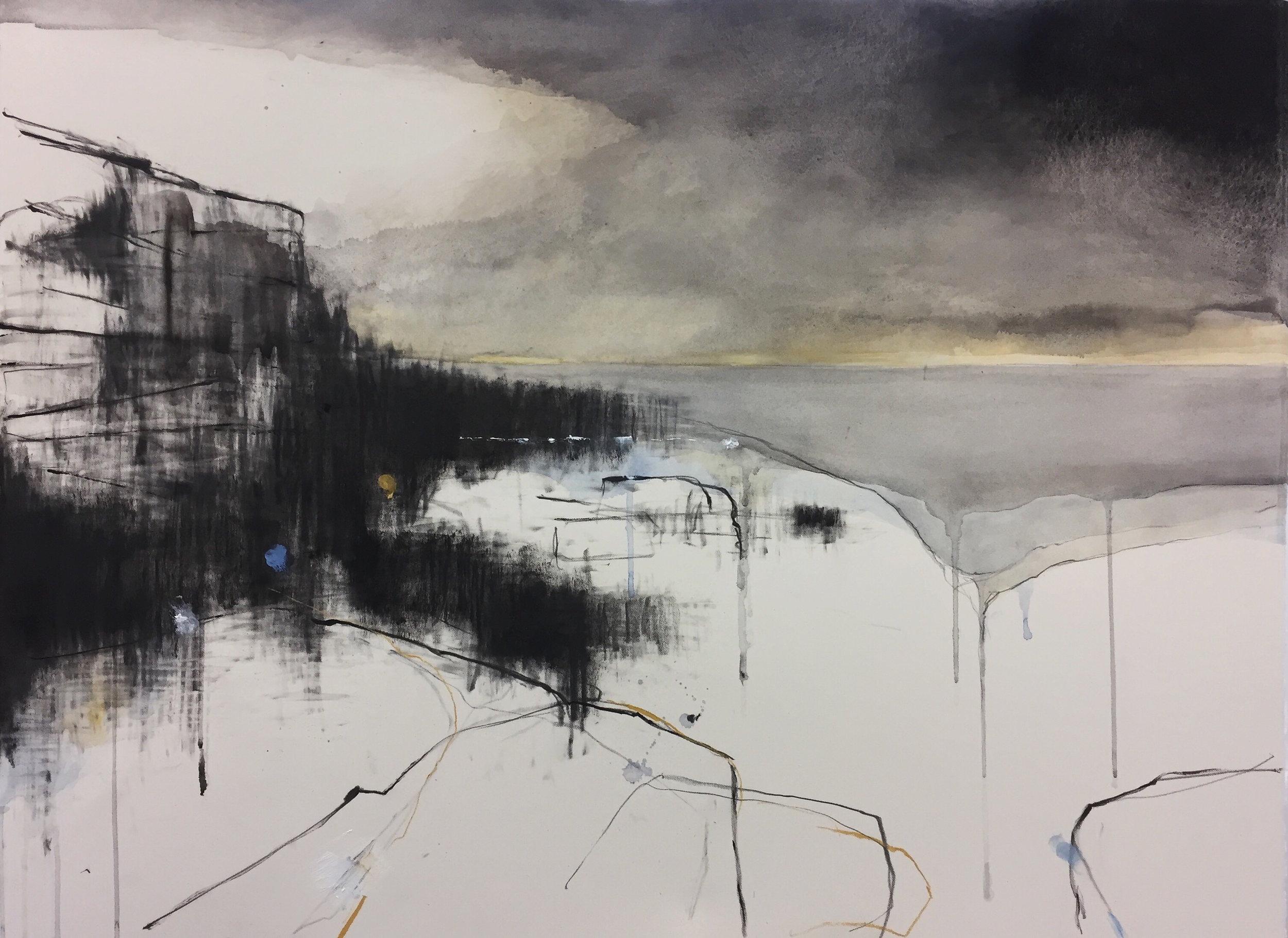 Rain over the Cove.  57 x 77cm. Graphite, oil, watercolour and gesso on paper