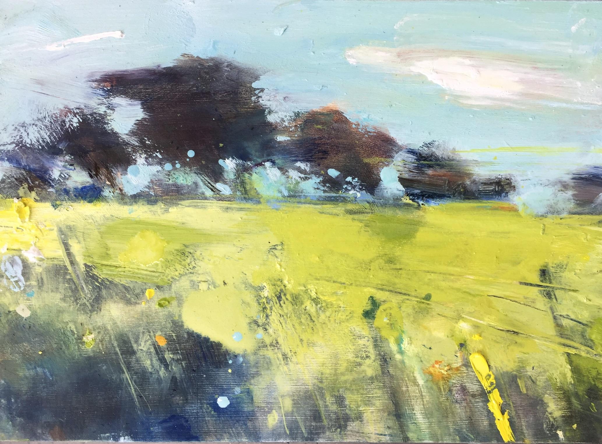 Summer Fields near Ludgvan.  22 x 30cm. Oil on board.  Sold