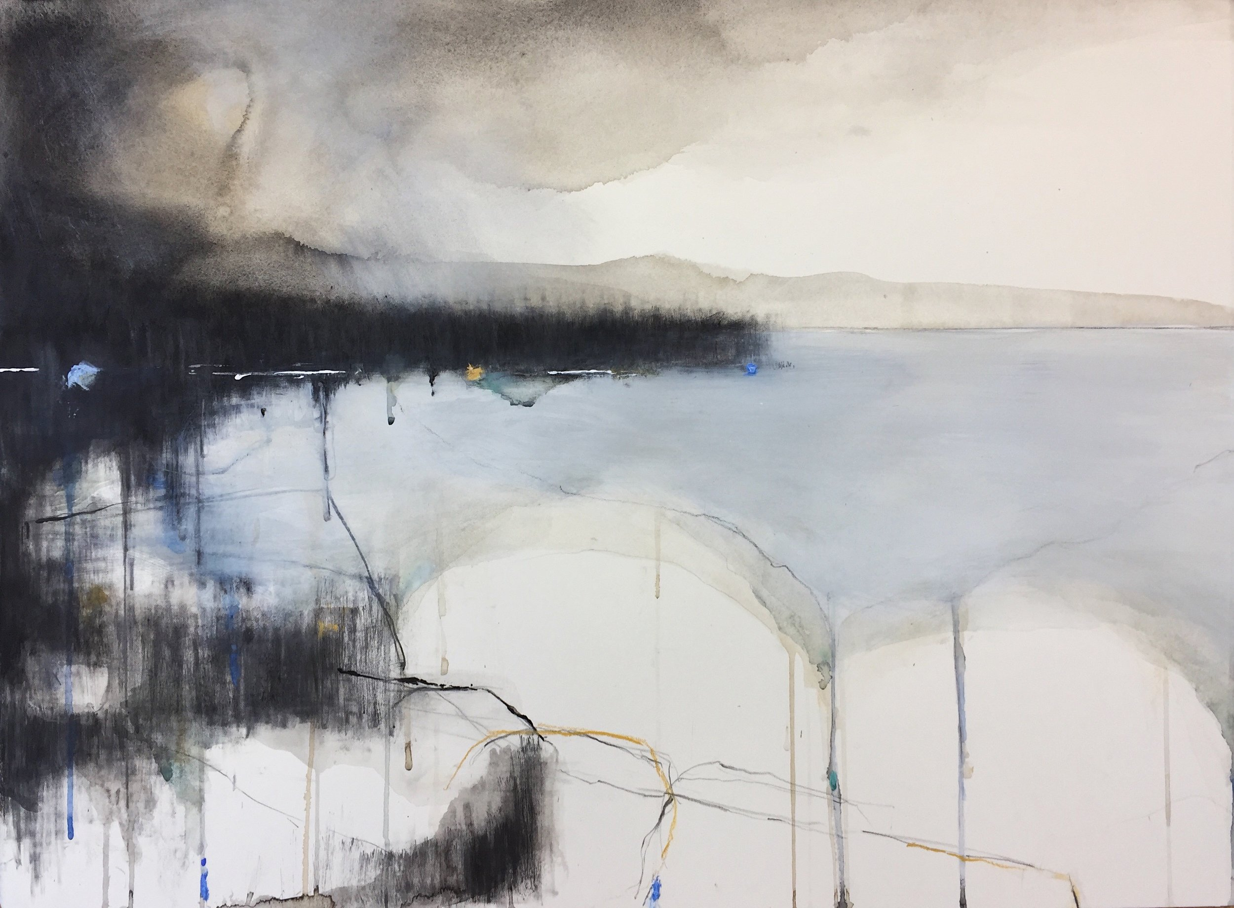 Winter Cove, Cornwall. 56 x 76cm. Graphite, oil, watercolour and gesso on paper.