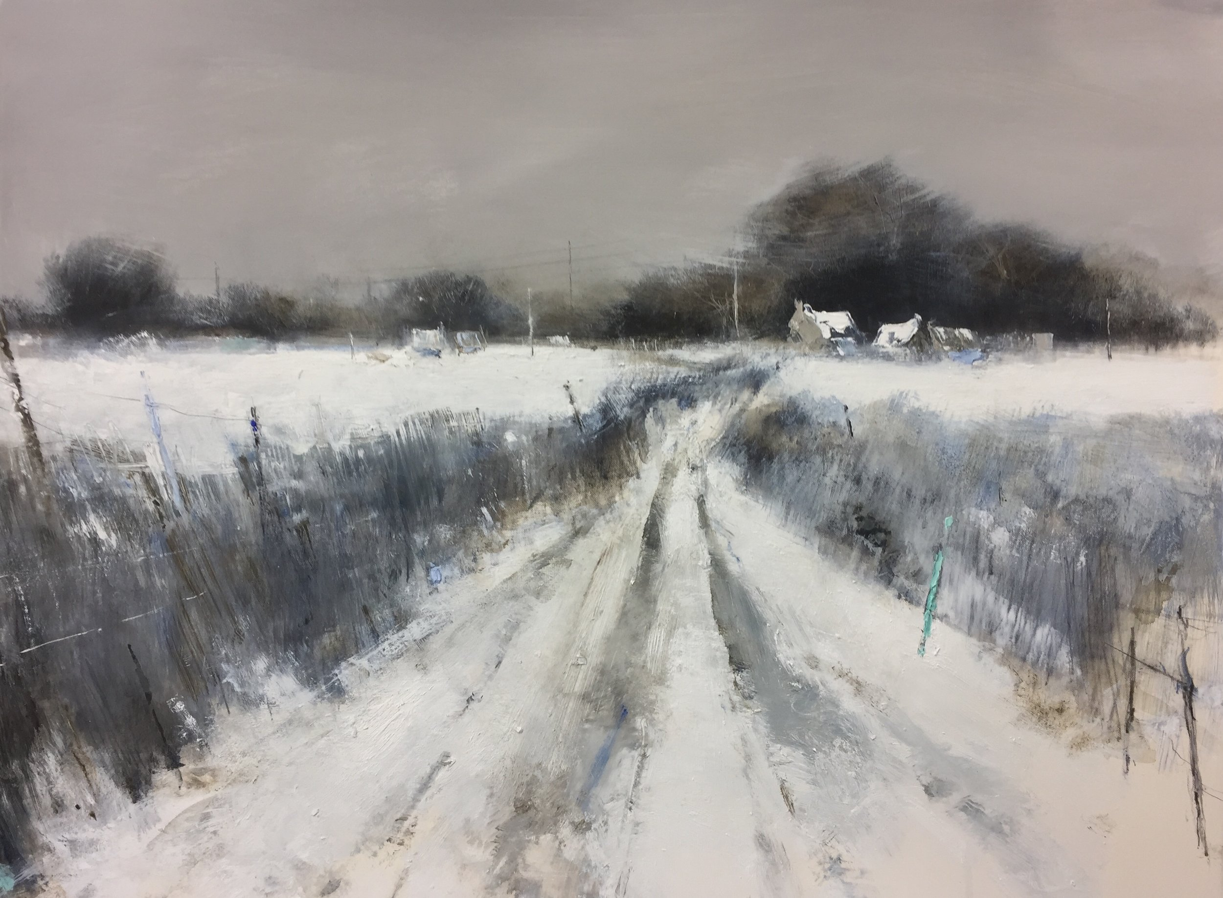 Winter Farmstead Under Snow.  Graphite, oil, watercolour and gesso on paper. 56 x 76cm.  Sold