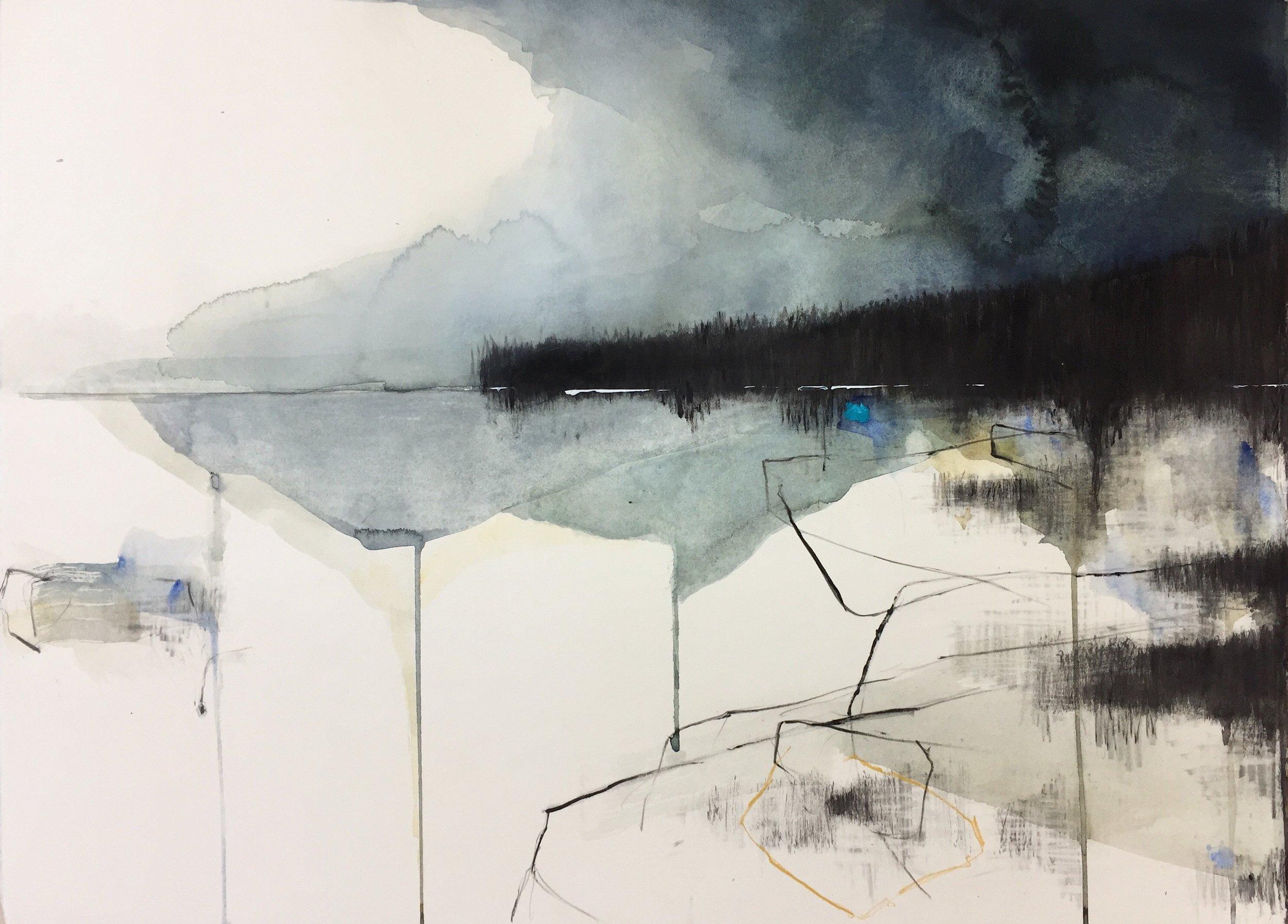 Sea Greens, Cornish Headland . Graphite, oil, watercolour and gesso on paper. 57 x 77cm  Sold