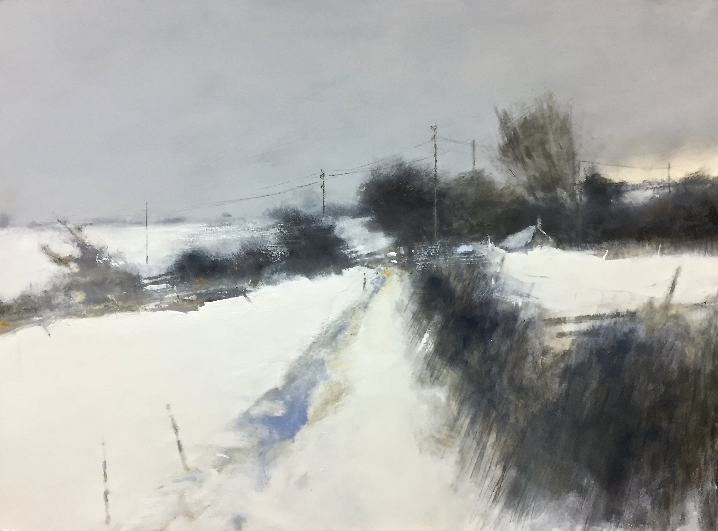 Cornish Moors in Winter.  Graphite, oil, watercolour and gesso on paper. 57 x 77cm  Sold