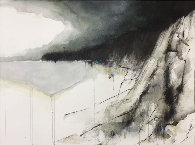 Cliff Face, Nanjizal.  Graphite, oil, watercolour and gesso on paper. 57 x 77cm