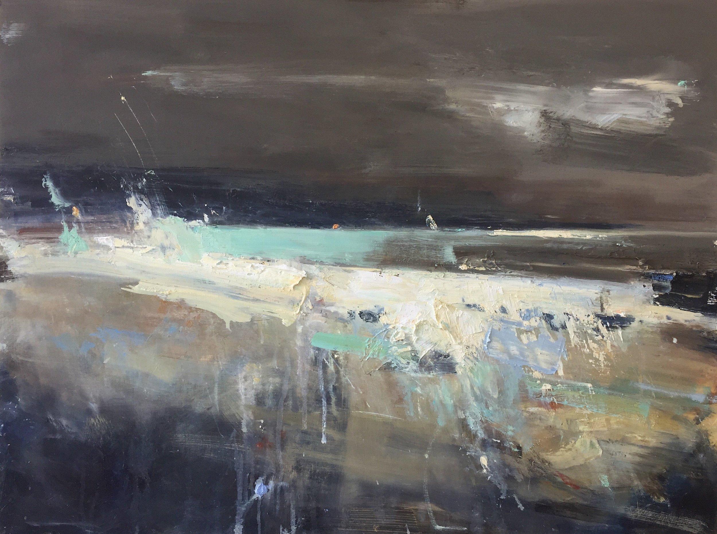 Wild Winter Waves, Cornwall.  Oil on board. 60 x 70cm