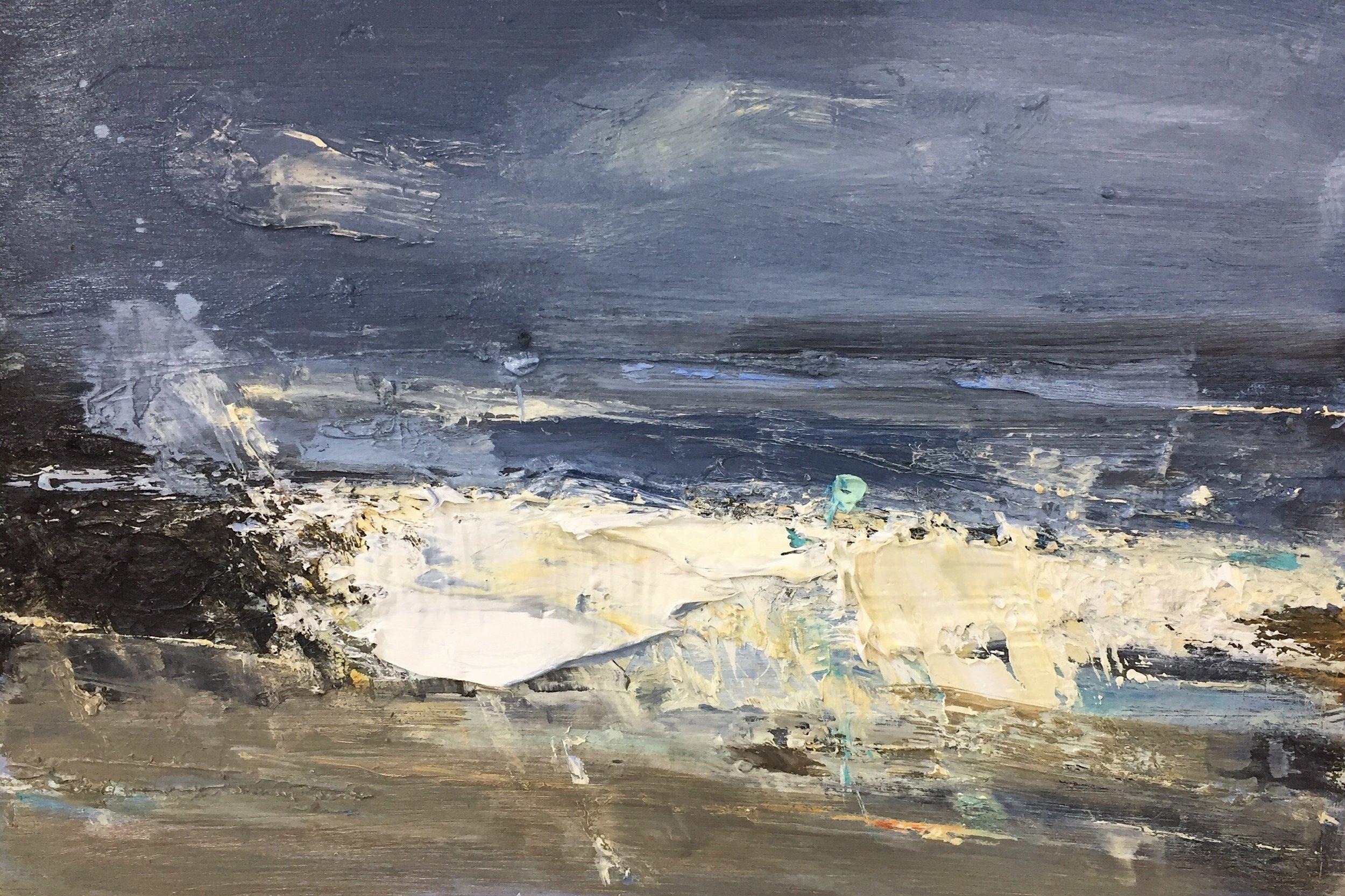Blue Winter Waves.  Oil on board. 20 x 30cm  Sold