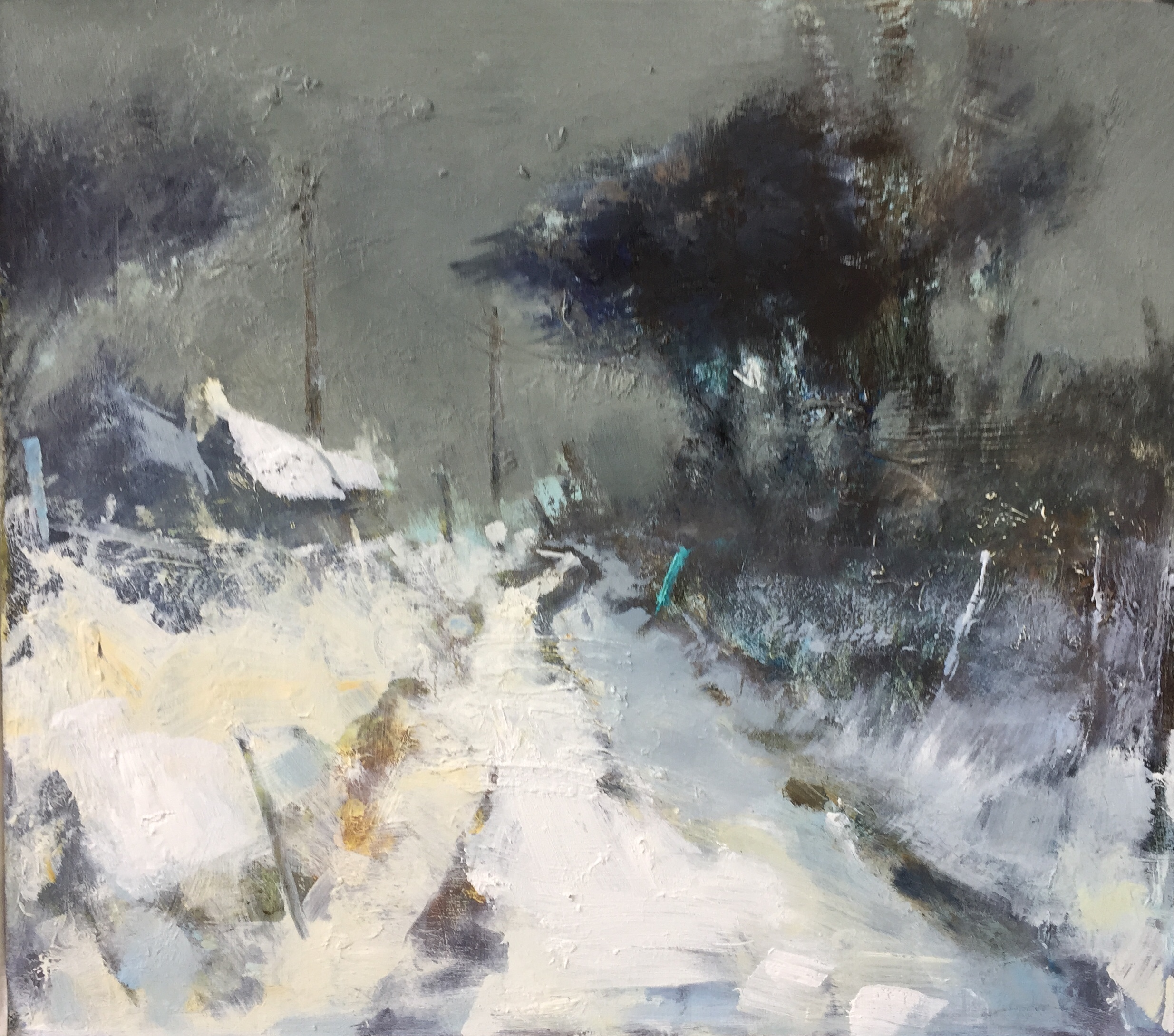 Evening Snowfall.  Oil on board. 35 x 40cm  Sold