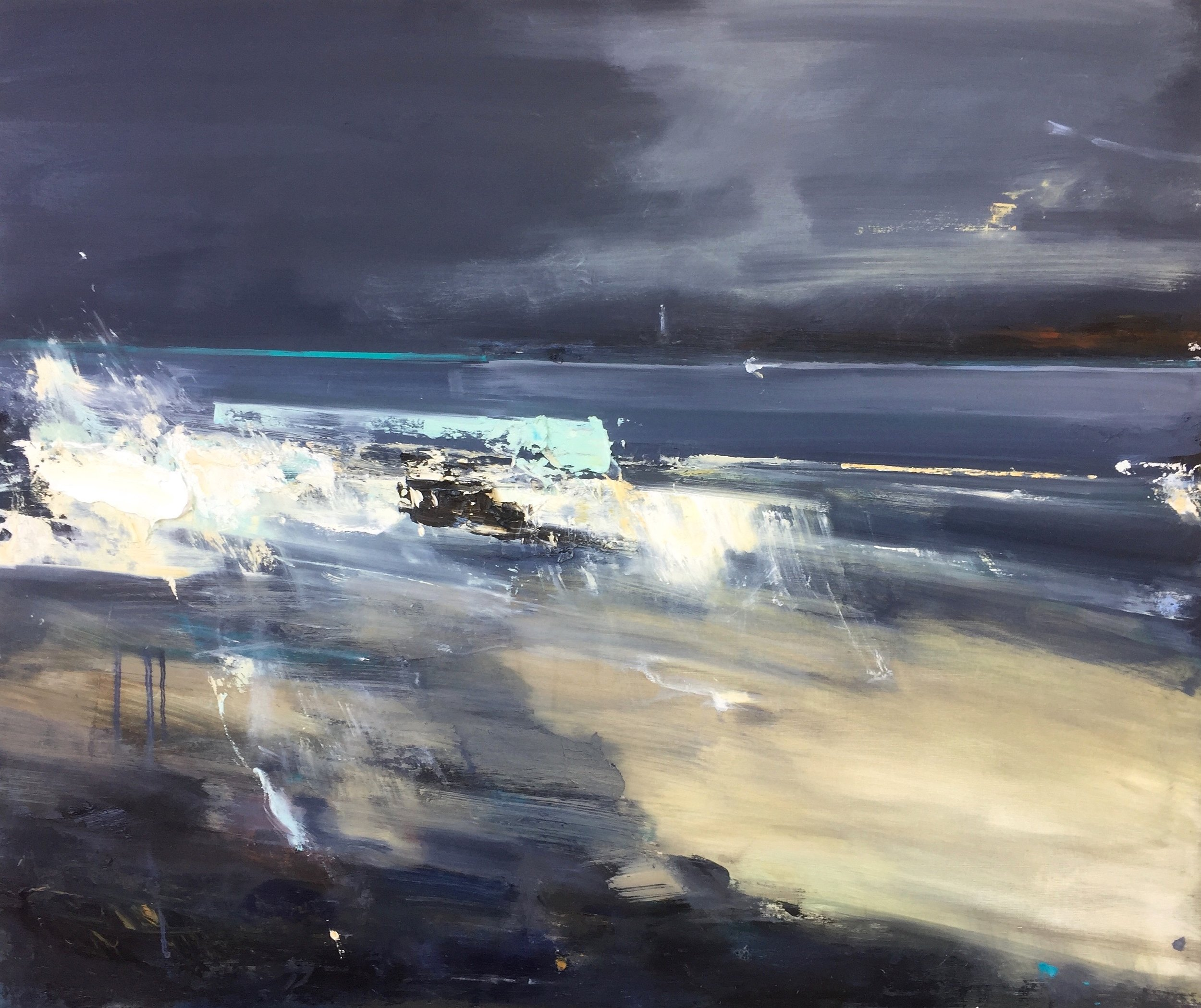 Inky Skies, Godrevy.  Oil on board. 84 x 100cm  Sold