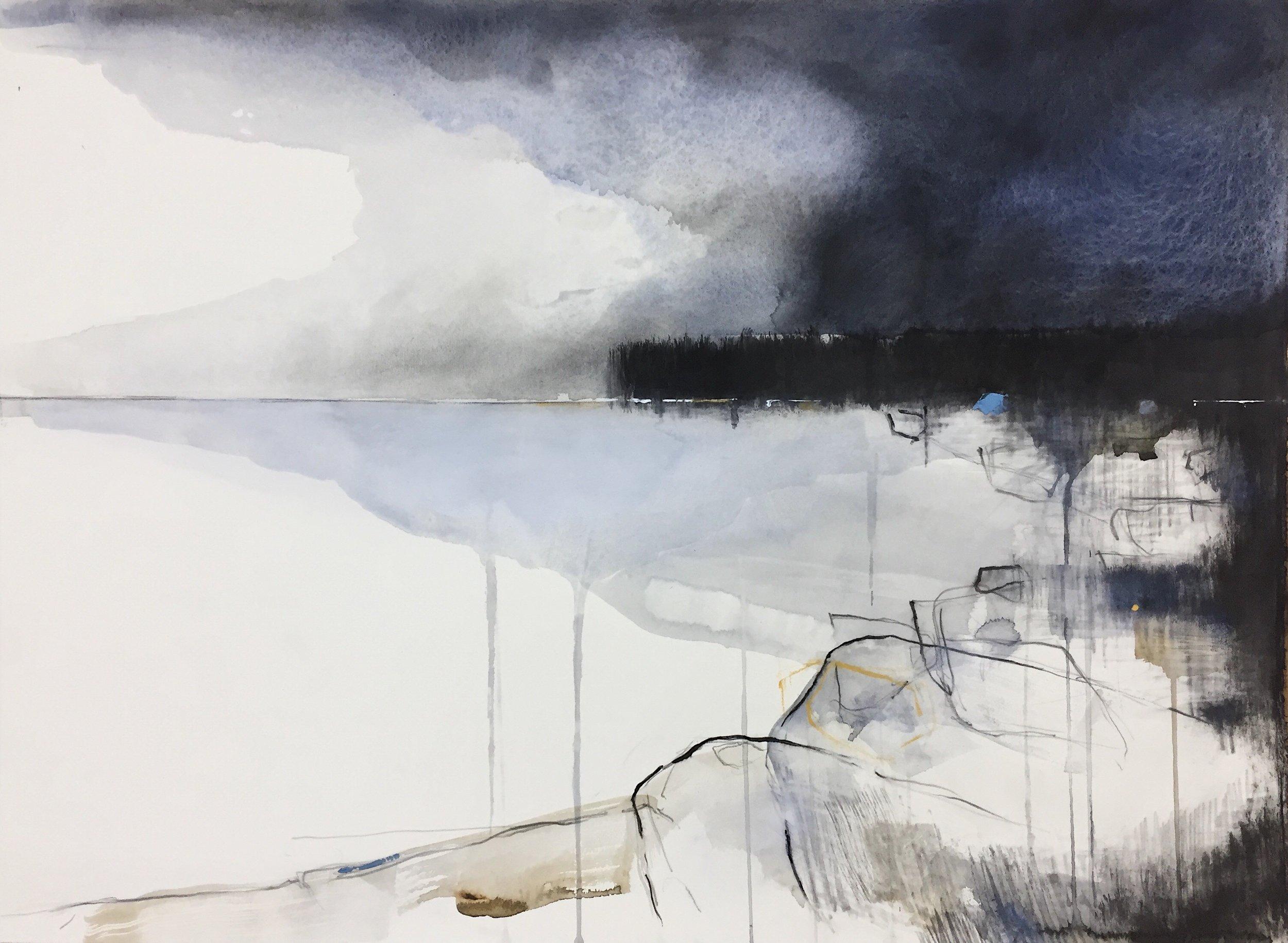 Indigo Clouds 1, Nanjizal.  Graphite, oil, watercolour and gesso on paper. 57 x 77cm