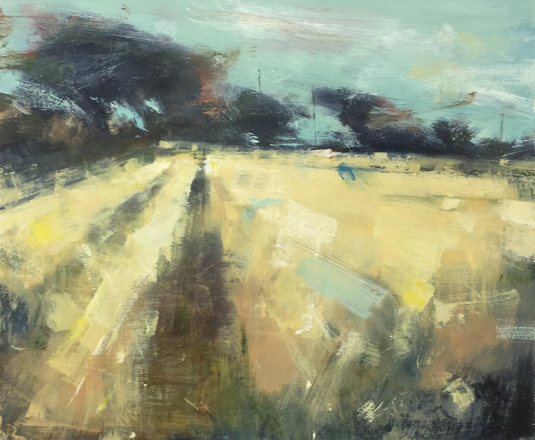 Path through the Wheatfield.  Oil on board. 42 x 50cm