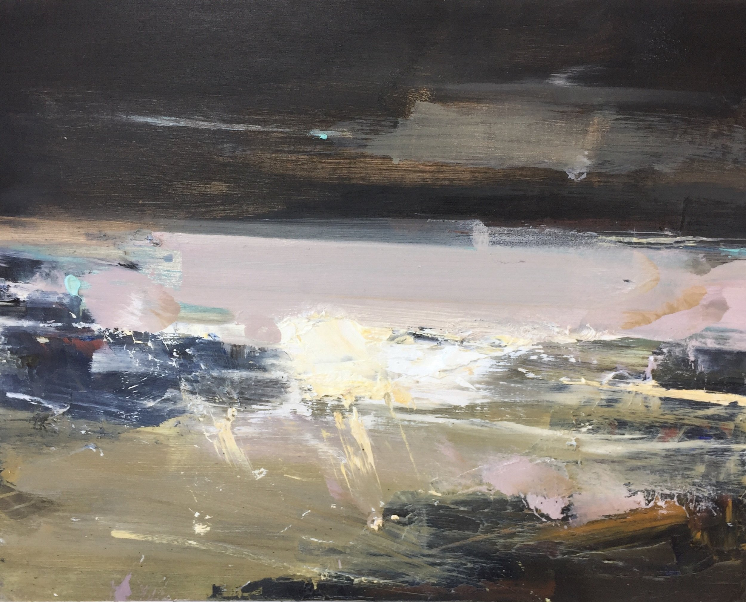 Surf Rolling In, Godrevy.  Oil on board. 32 x 40cm