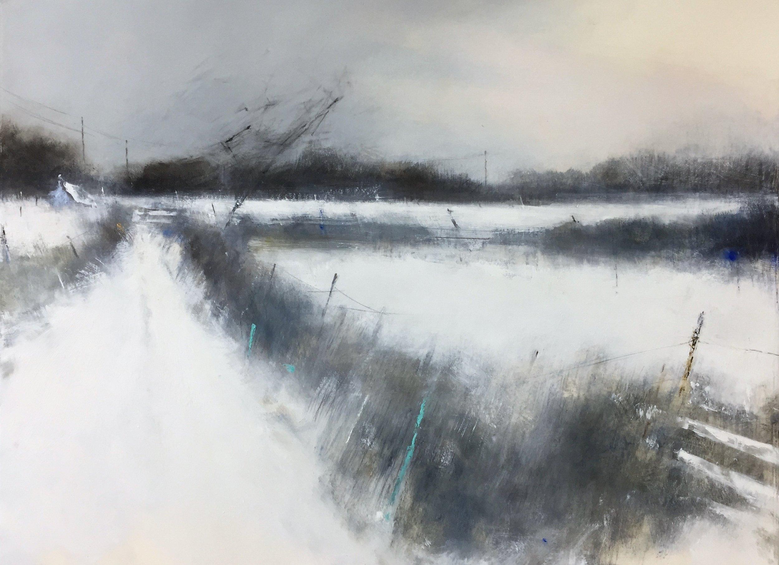 Snow Silence, Cornish Farm.  Graphite, oil, watercolour and gesso on paper. 57 x 77cm  Sold