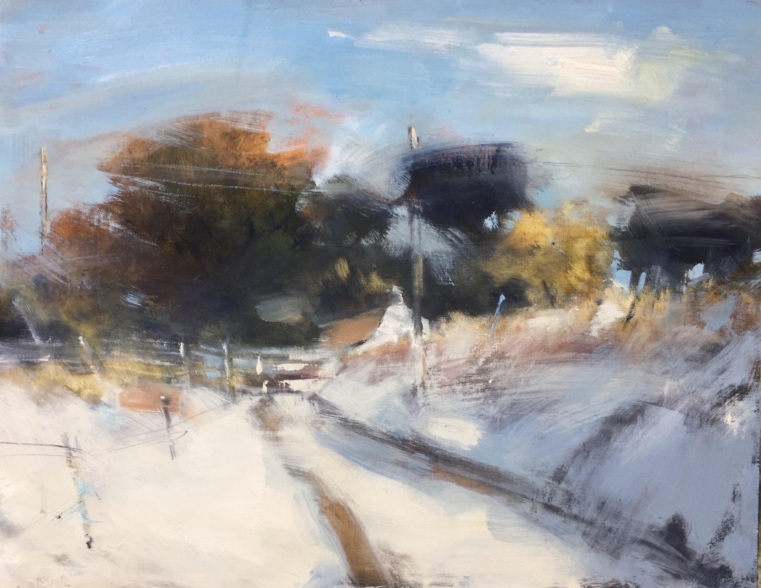 Sun on Fresh Snow, Cornwall.  Oil on board. 47 x 60cm