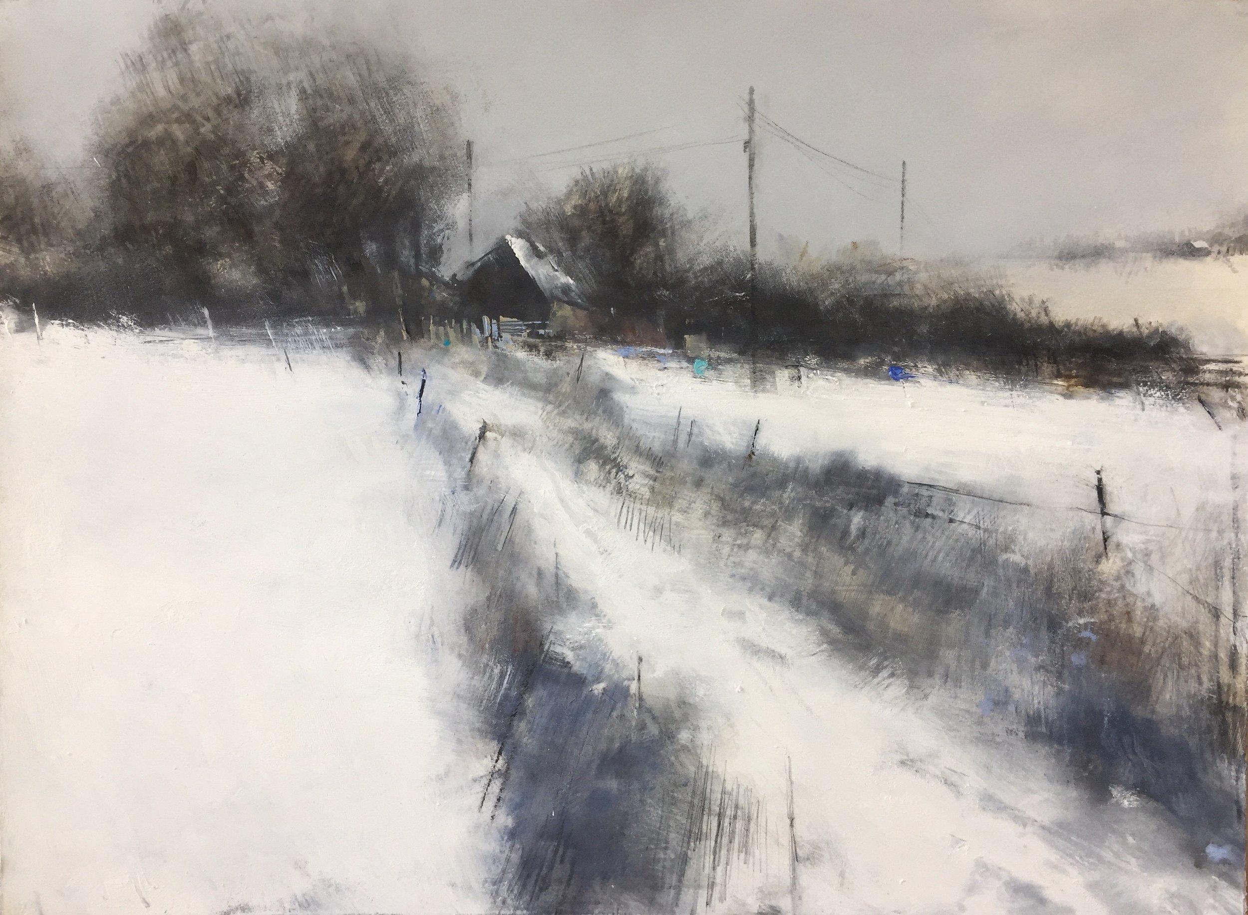 Snowed In, Cornish Farm.  Graphite, oil, watercolour and gesso on paper. 57 x 77cm  Sold