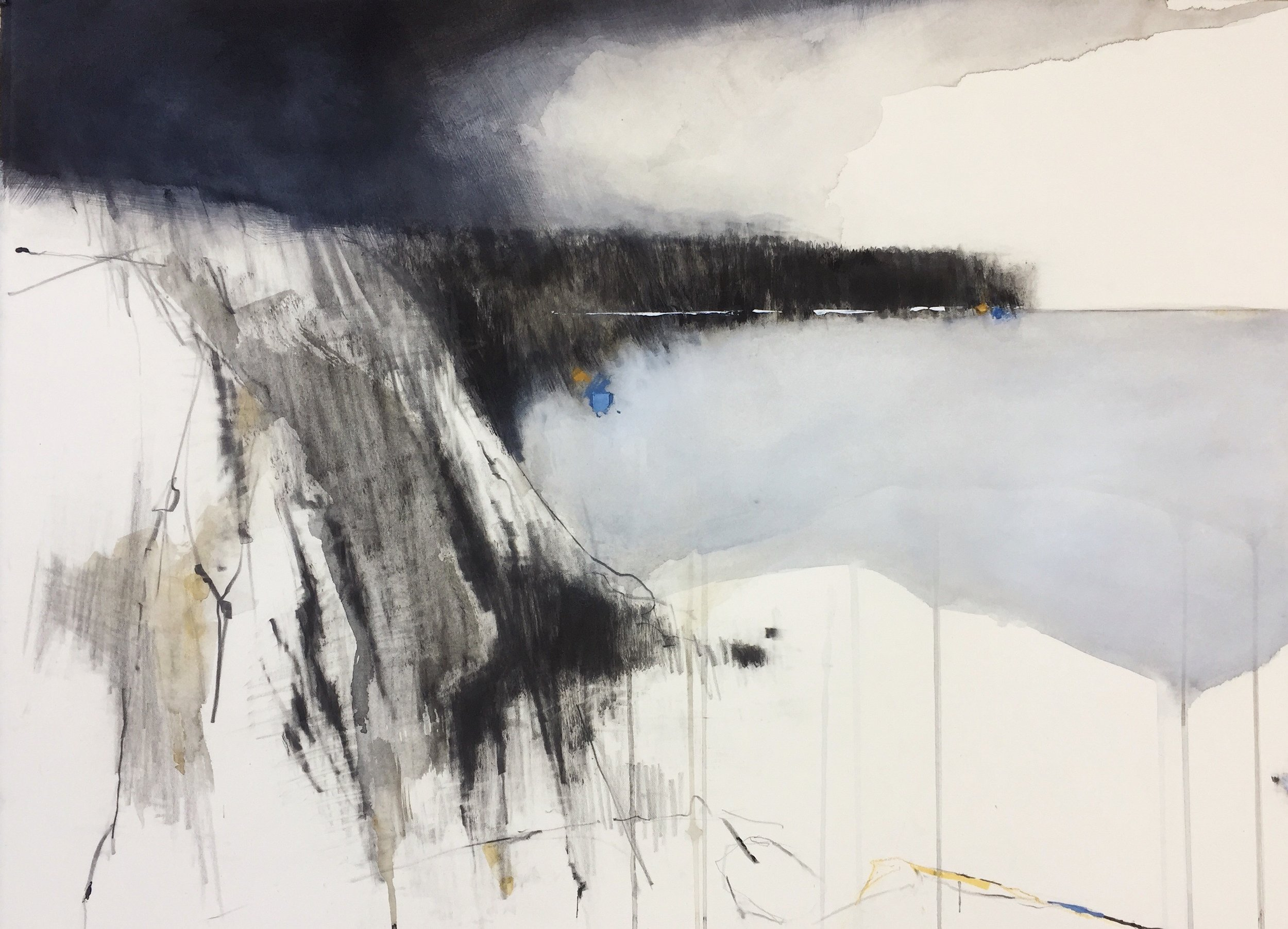 Indigo Clouds II, Nanjizal. 2018. Graphite, watercolour, oil and gesso on paper. 57 x 77cm unframed. £2200 copy.JPG