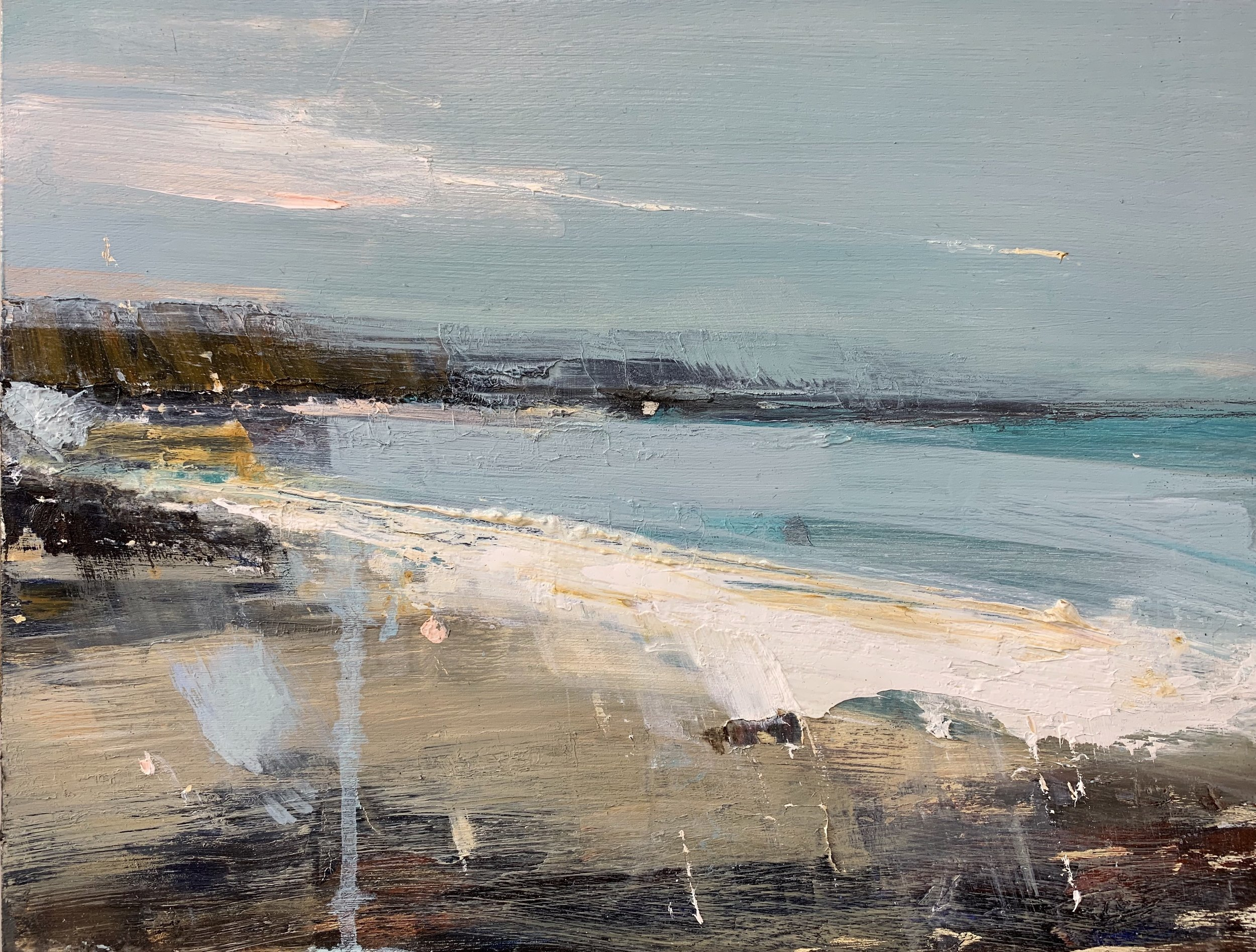 Spring Light, Gwithian Beach.  Oil on board. 30 x 40cm  Sold