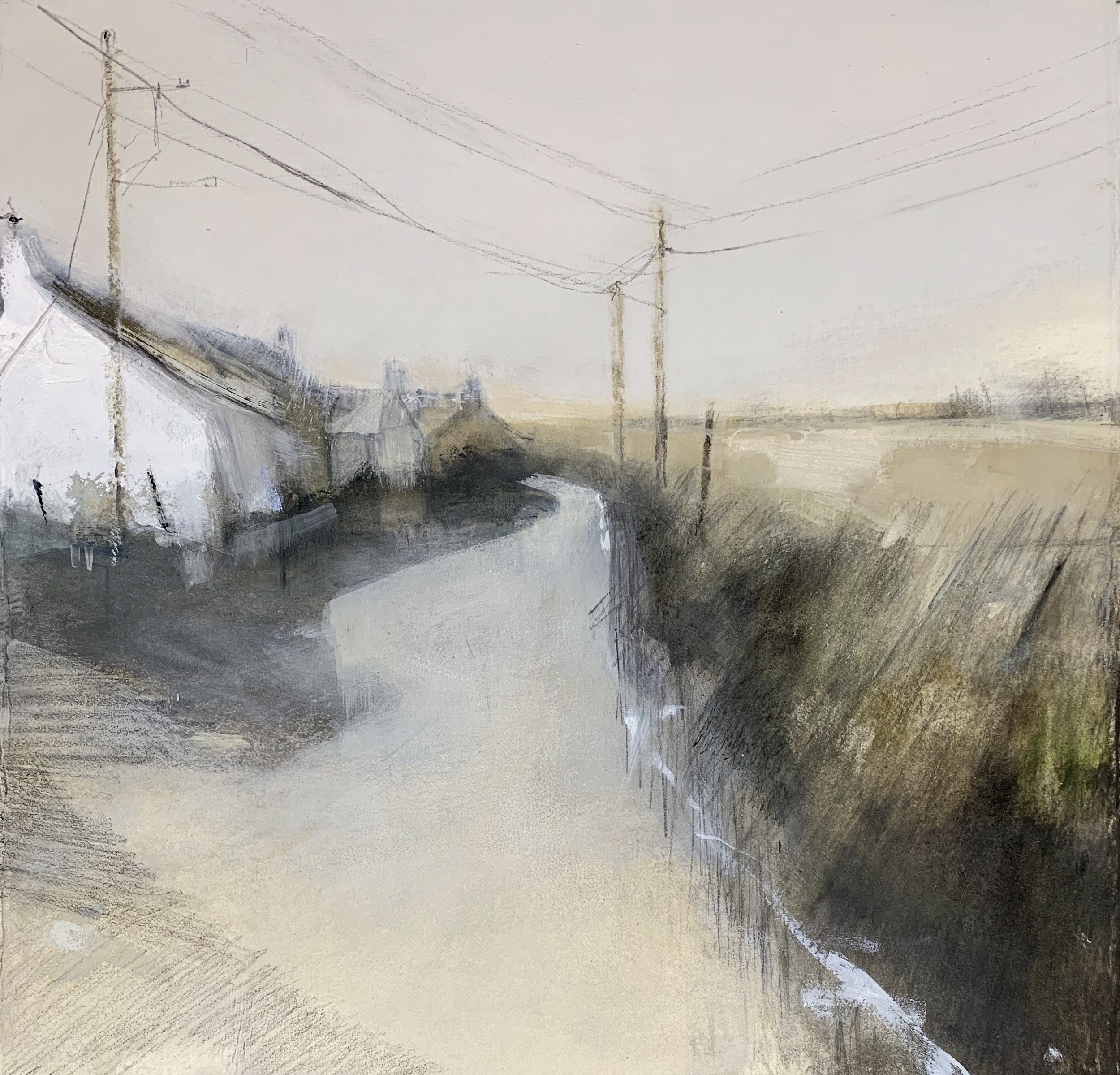 Cottages, West Penwith.  Study. Graphite, oil, gesso and gouache on paper. 32 x 34cm  Sold