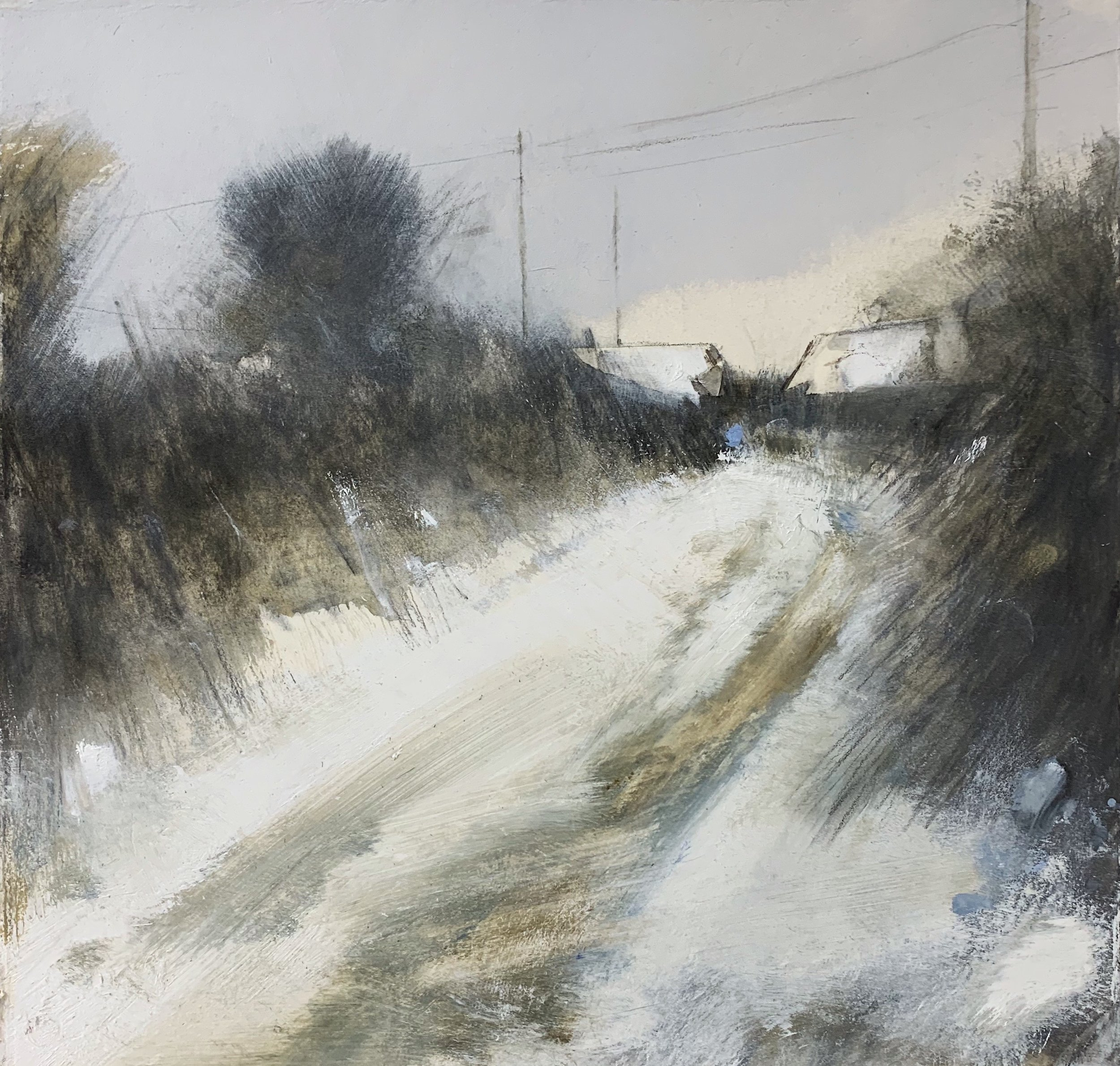Lane in Snow, West Cornwall.  Study. Graphite, oil, gesso and gouache on paper. 32 x 34cm  Sold