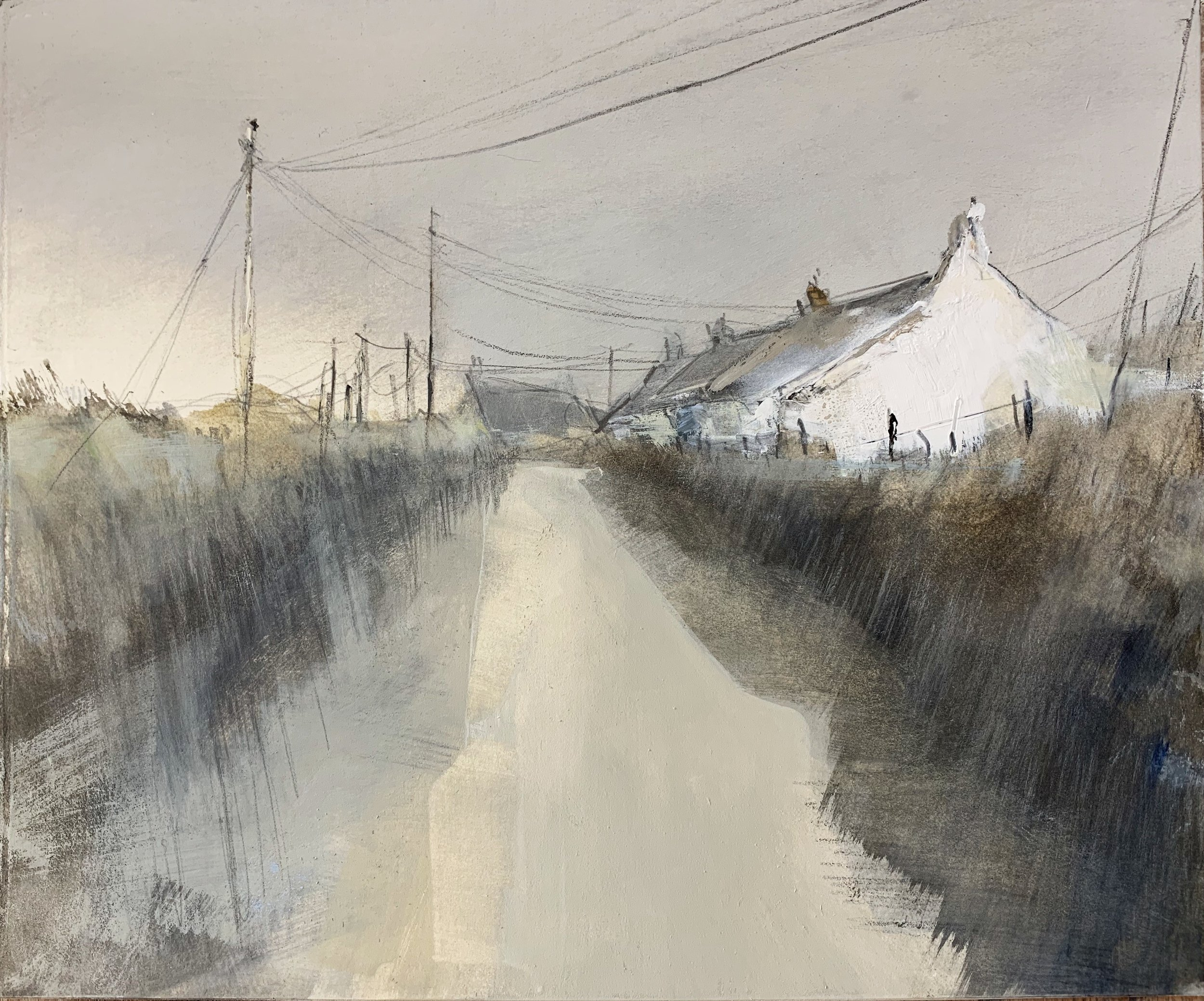 Rain Coming, West Penwith.  Study. Graphite, oil, gesso and gouache on paper. 28 x 34cm
