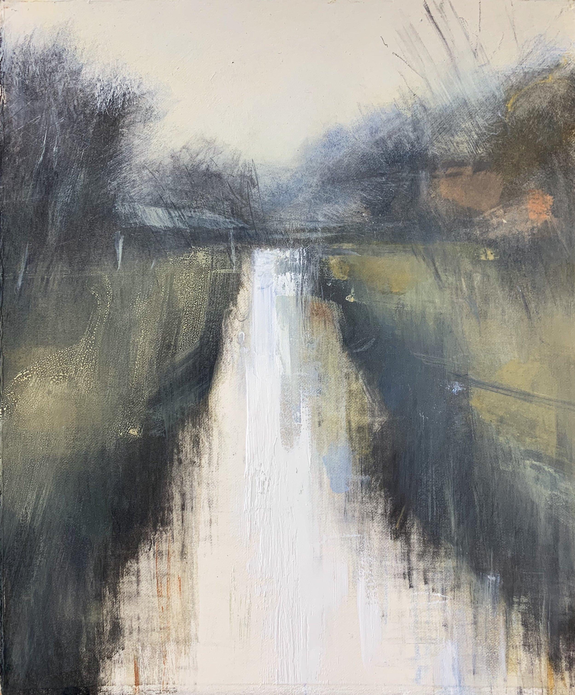 Cornish Stream, Winter. Study.  Graphite, oil, gesso and gouache on paper. 34 x 28cm