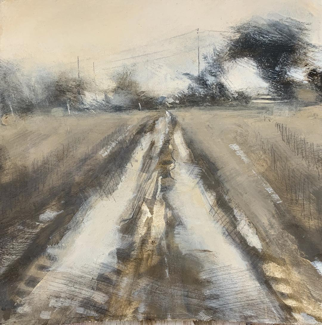 Ploughed Field in Winter.  Graphite, watercolour, gouache and gesso on paper.