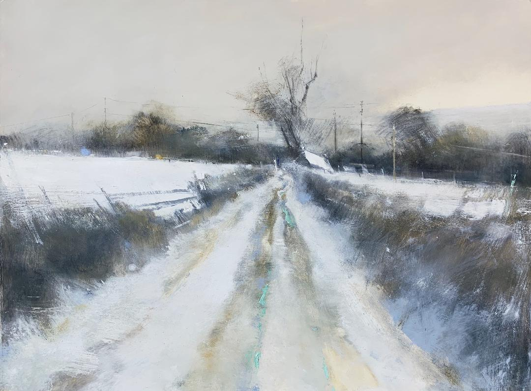 High Hedges, Cornish Winter.  Graphite, oil, watercolour and gesso on paper. 57 x 77cm  Sold