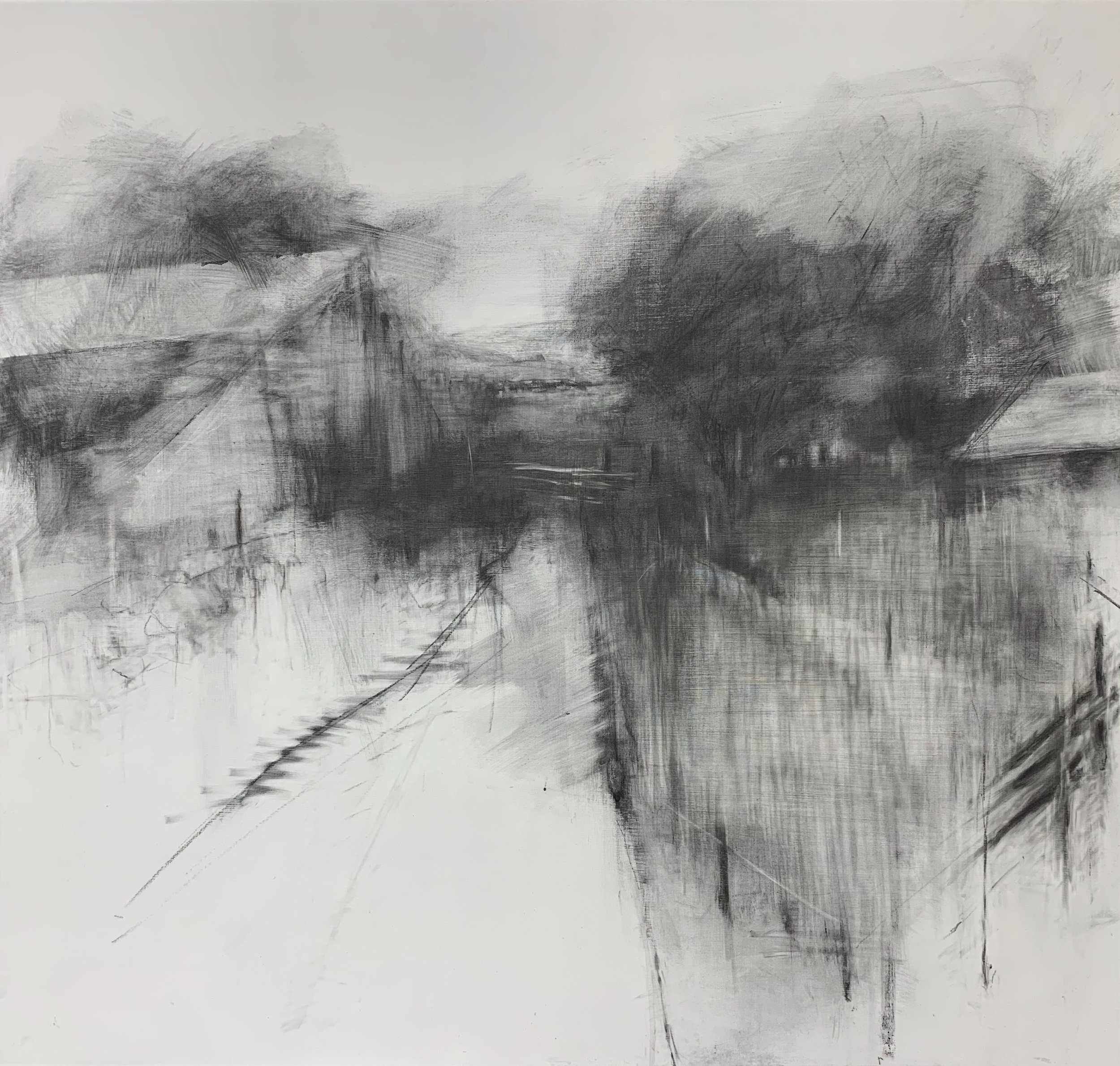 Farm near Lerryn. 2019. Graphite on board.