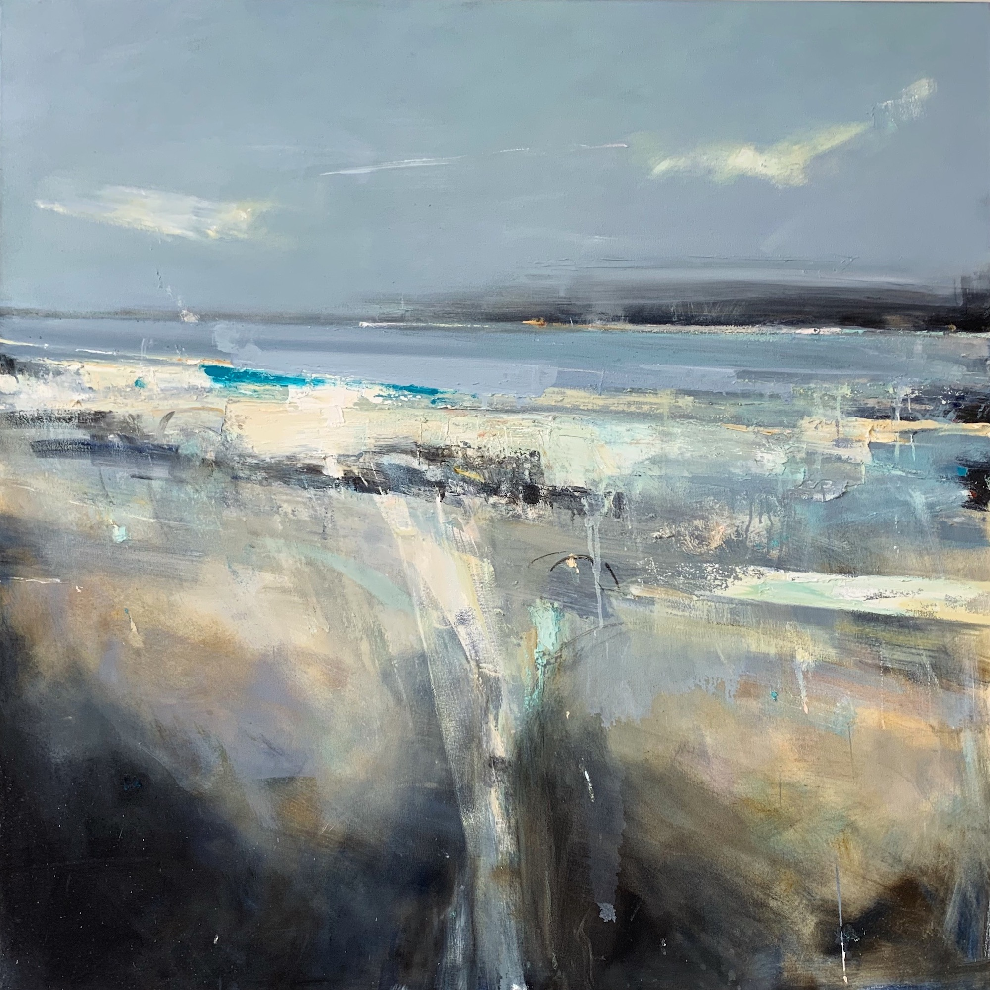 Godrevy Waves.  Oil on canvas. 122 x 122cm  Sold