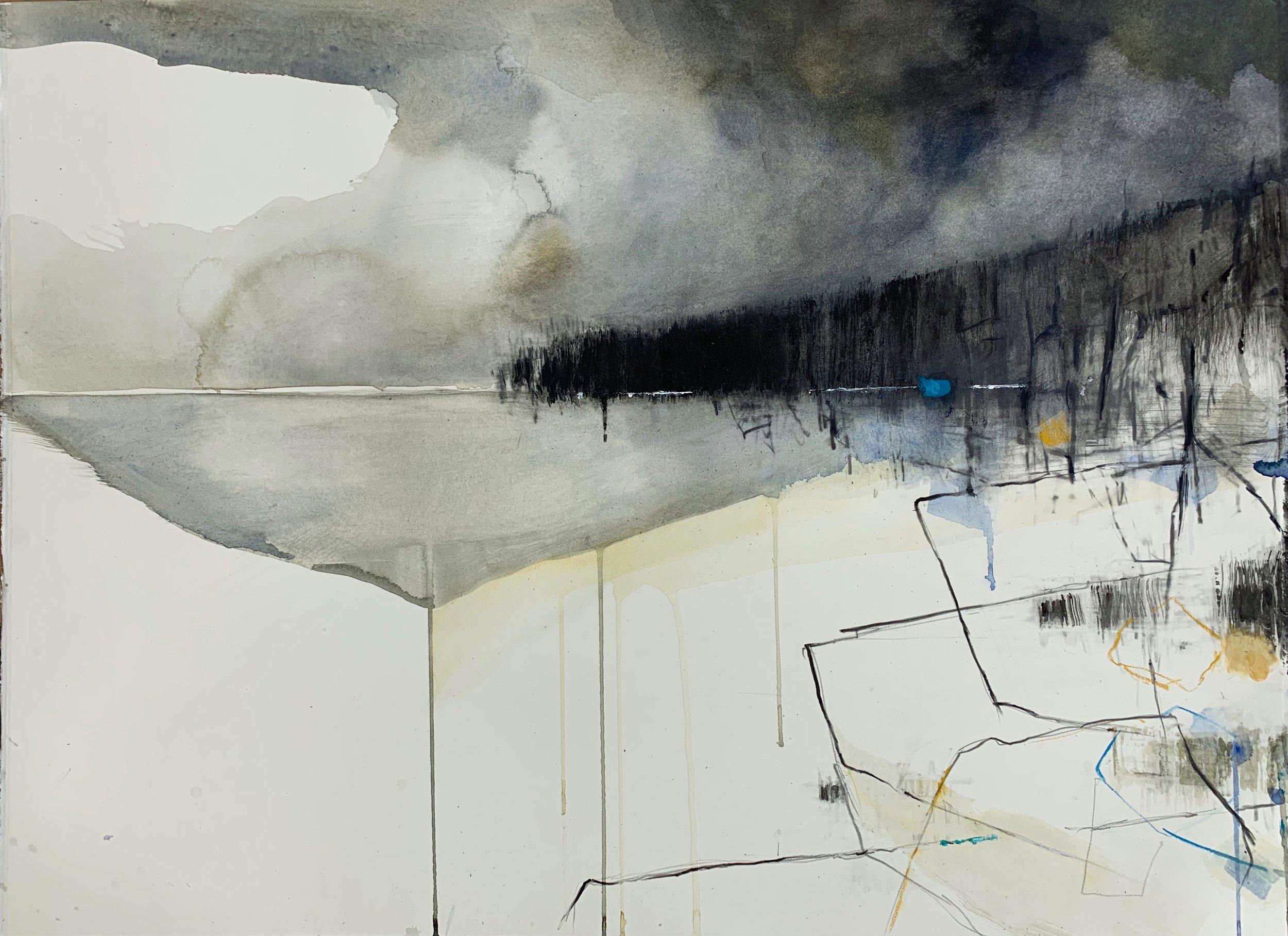 Cornish Headland, Rain.  Graphite, oil, watercolour and gesso on paper. 56 x 76cm