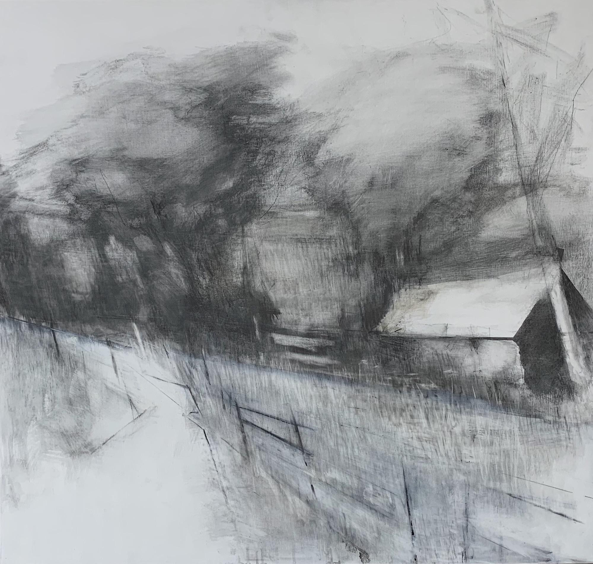 Roadside Barn. Graphite and gesso on board. 95 x 100cm