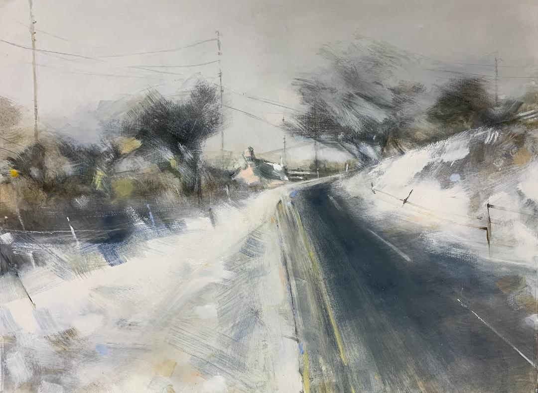 Pink Cottage on the Moors, Cornish Winter. Graphite, oil, watercolour and gesso on paper. 56 x 77cm