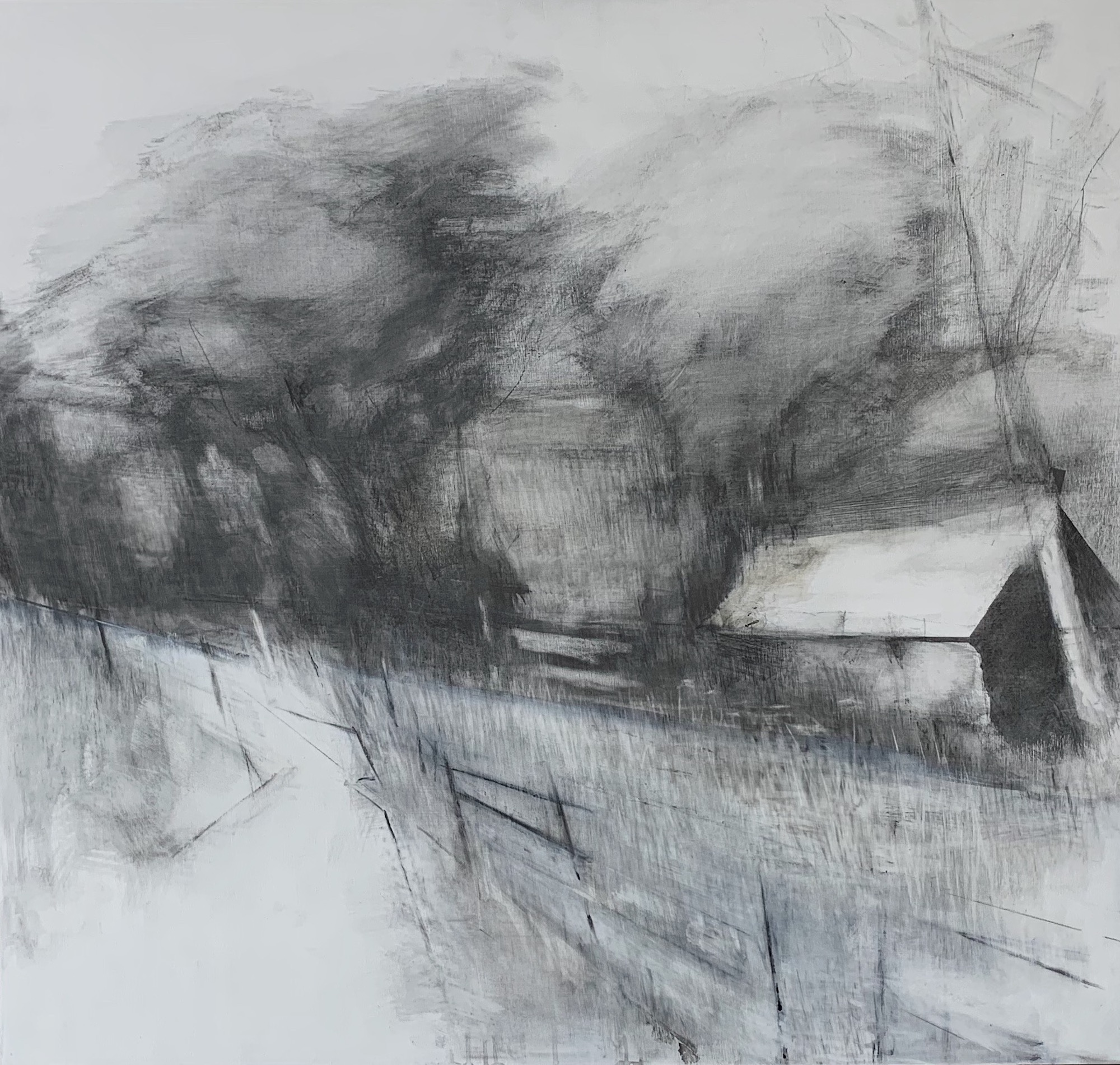 Roadside Barn. Graphite on board.