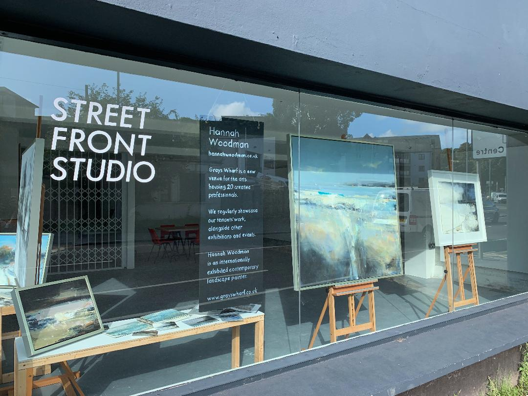 Grays Wharf gallery window featuring a display of my work….