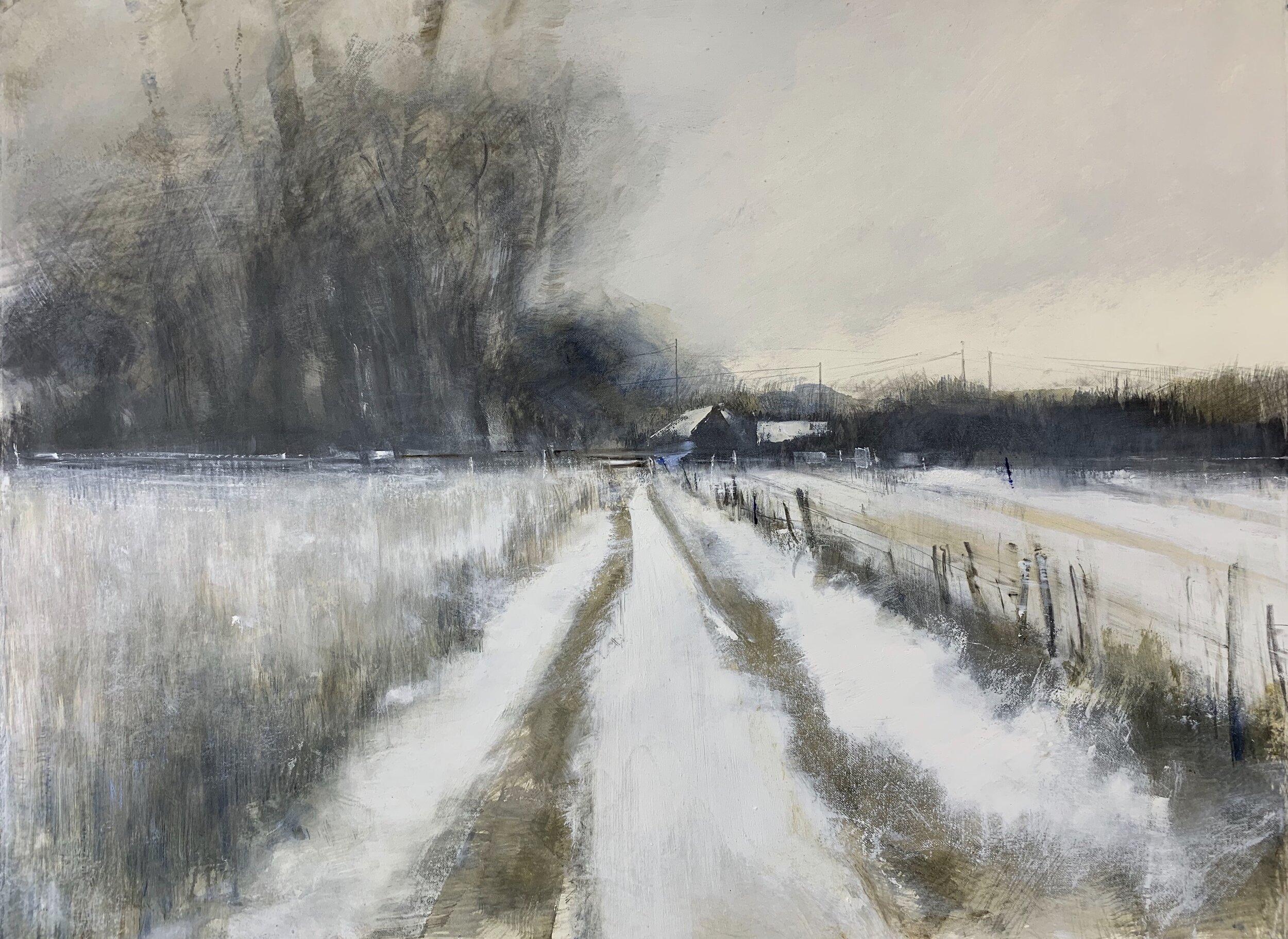 Deserted Farm, Winter.  Graphite, gesso, oil and watercolour on paper. 56 x 77cm
