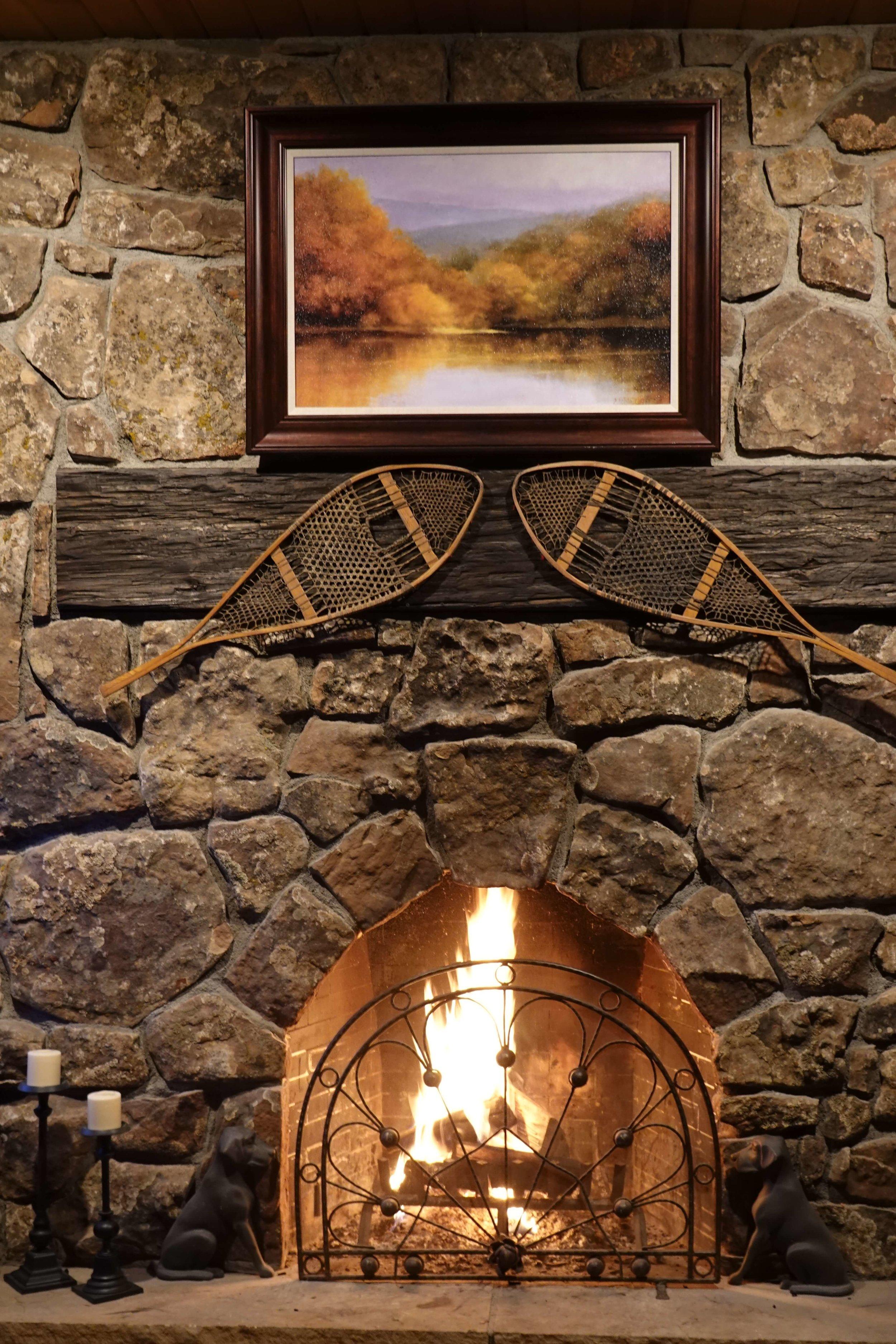 rip roaring fire at antler basin ranch