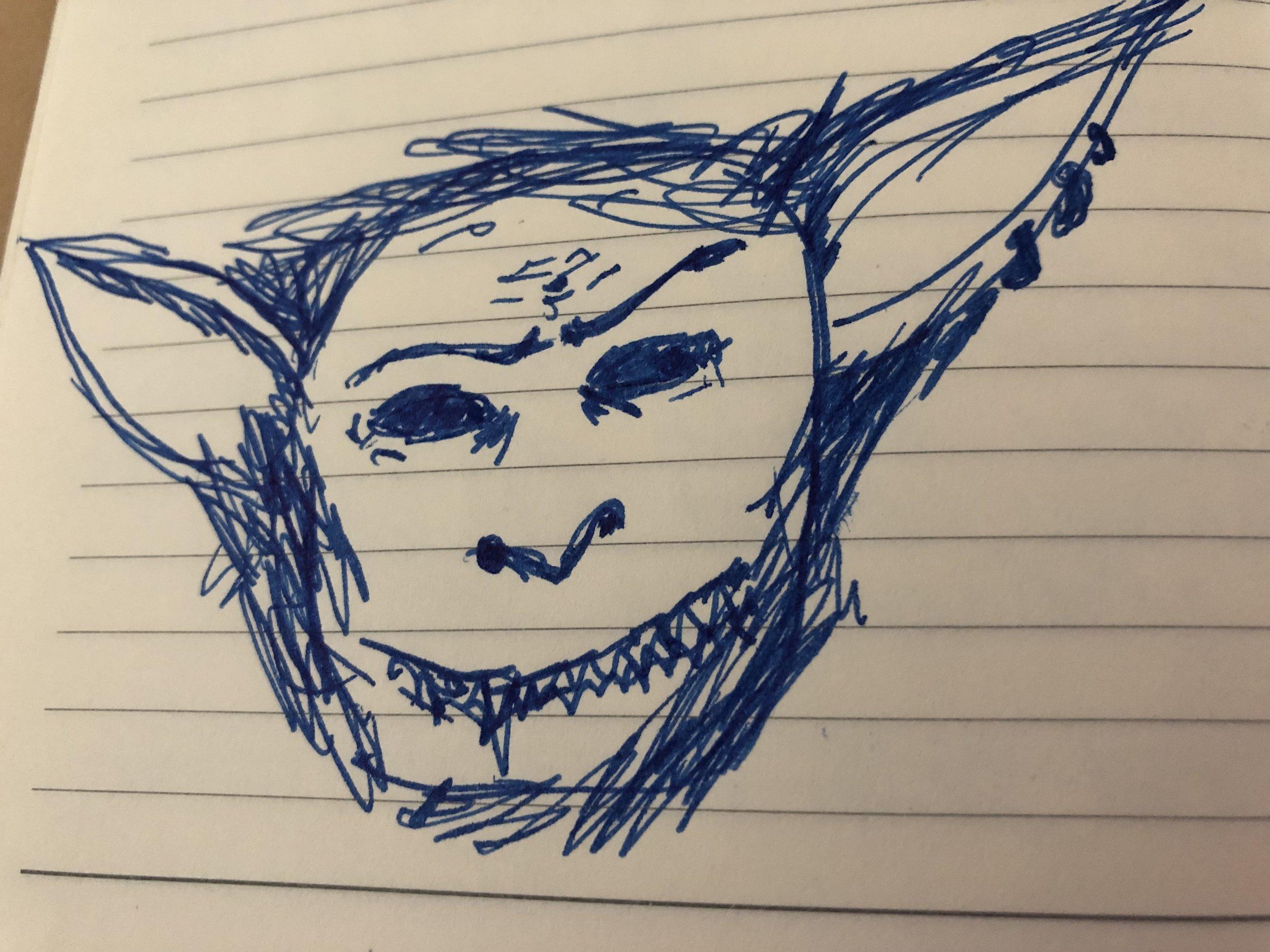Little sketch of a goblin in my notebook.