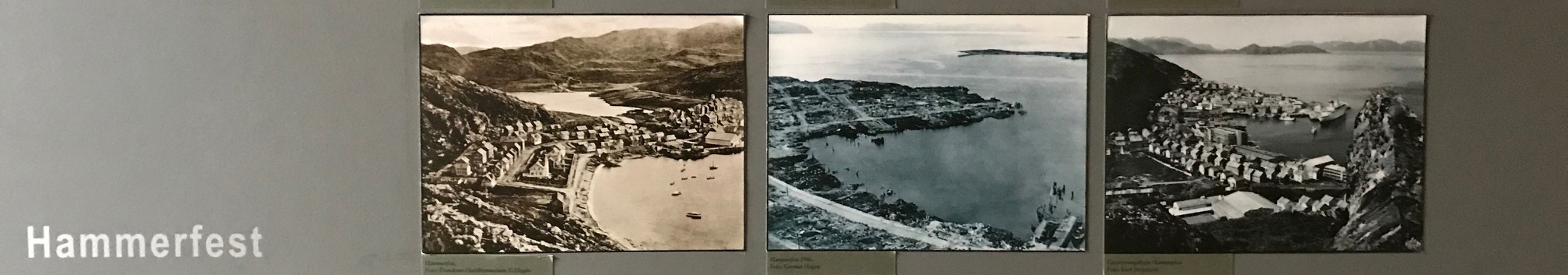 Wall display of Hammerfest before WWII, in 1945, and after the war