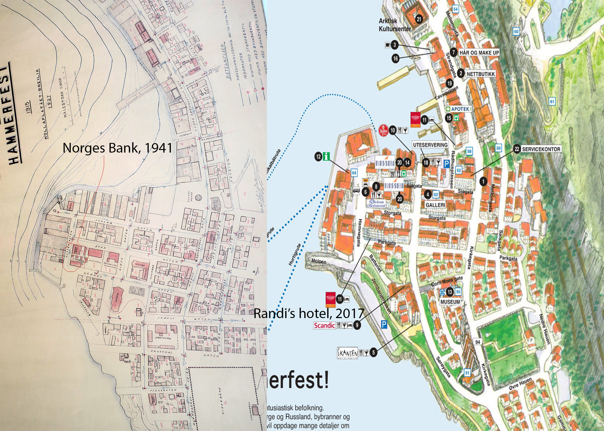 Left: Map of Hammerfest, 1937 (circled where Norges Bank was located, and Right: Modern map