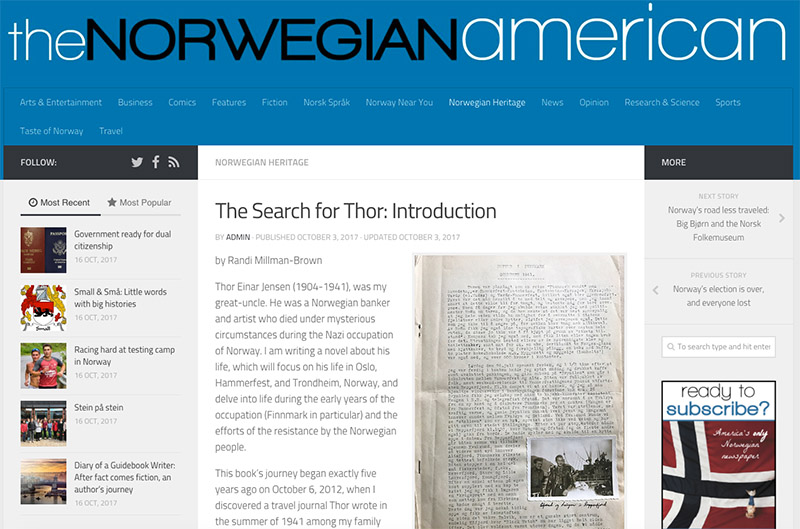 Screen grab of the article on the Norwegian American web site