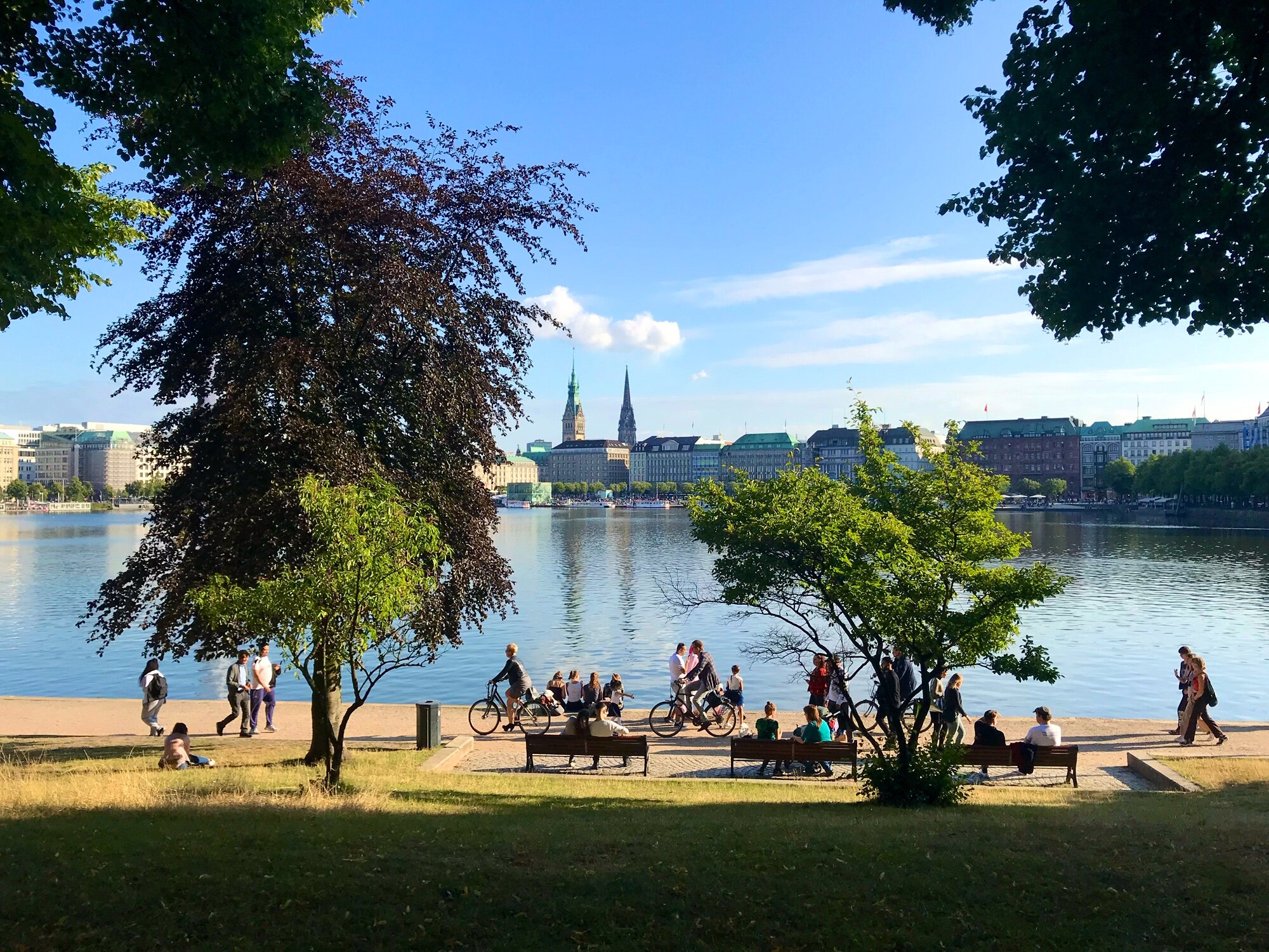 View of Hamburg and the Inner Alster Lake