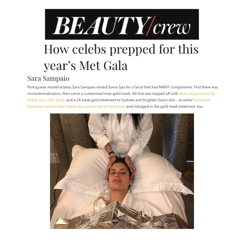 BEAUTY/CREW   Portuguese model/actress Sara Sampaio visited Soma Spa for a facial that had MANY components. First there was microdermabrasion, then came a customised rose-gold mask. All that was topped off with  facial acupuncture by health guru Juhi Singh  and a 24-karat gold treatment to hydrate and brighten Sara's skin – so extra!