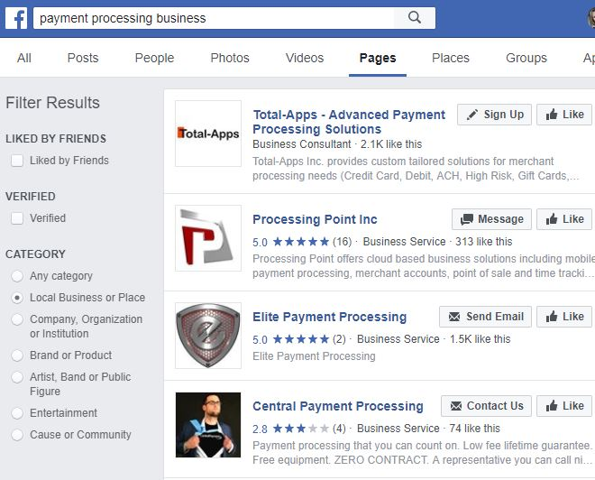 screenshot of facebook search results payment processing business