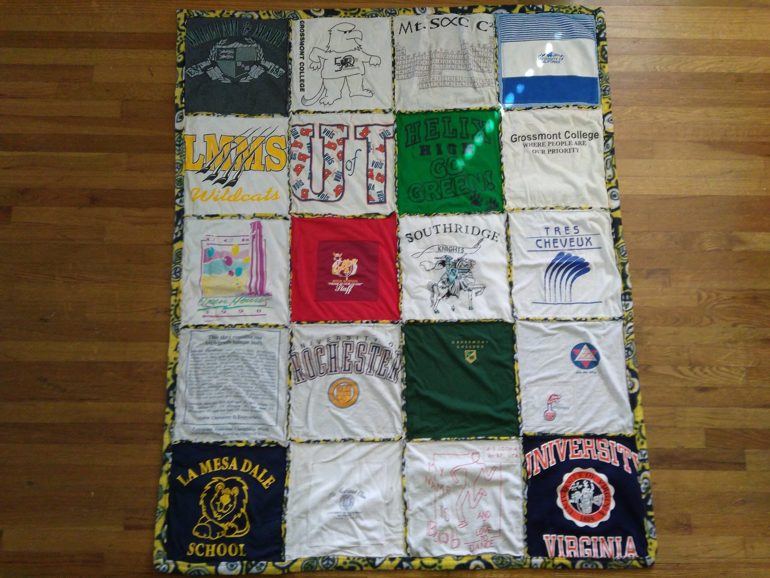 A t-shirt quilt is so much better than a jumbled pile of t-shirts! And it's easy to make!