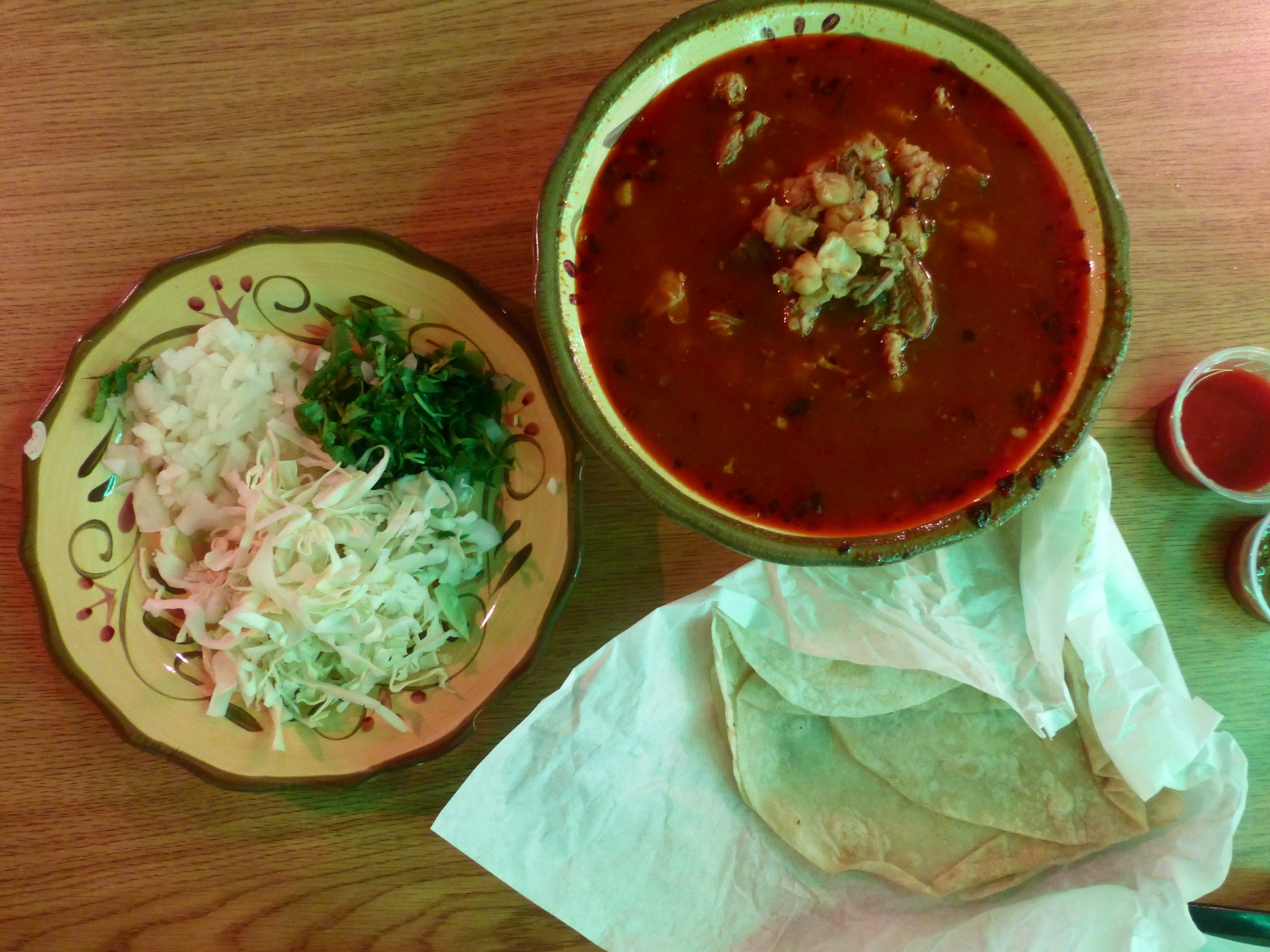 Not many taco shops have red posole! You can see how difficult it is to make  here .