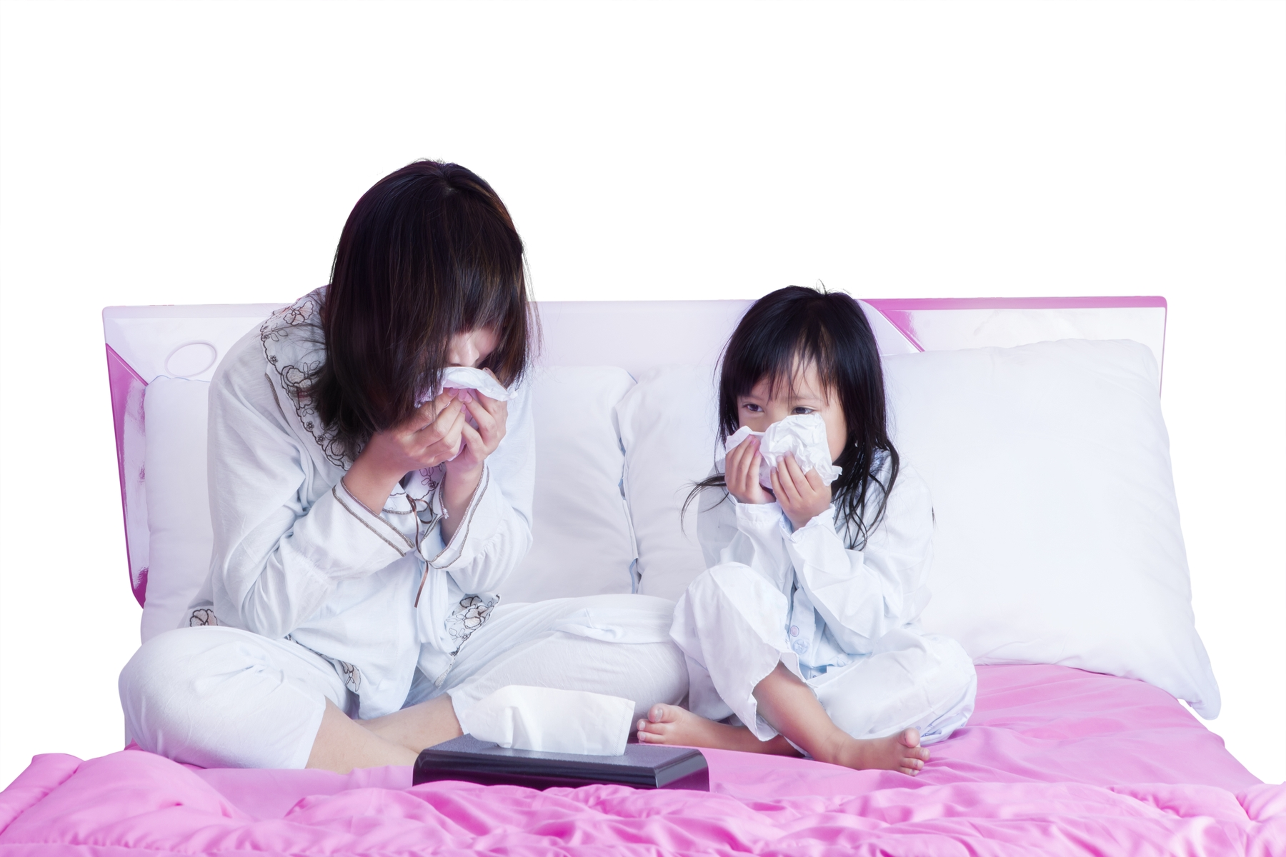Sneezing mom and child.