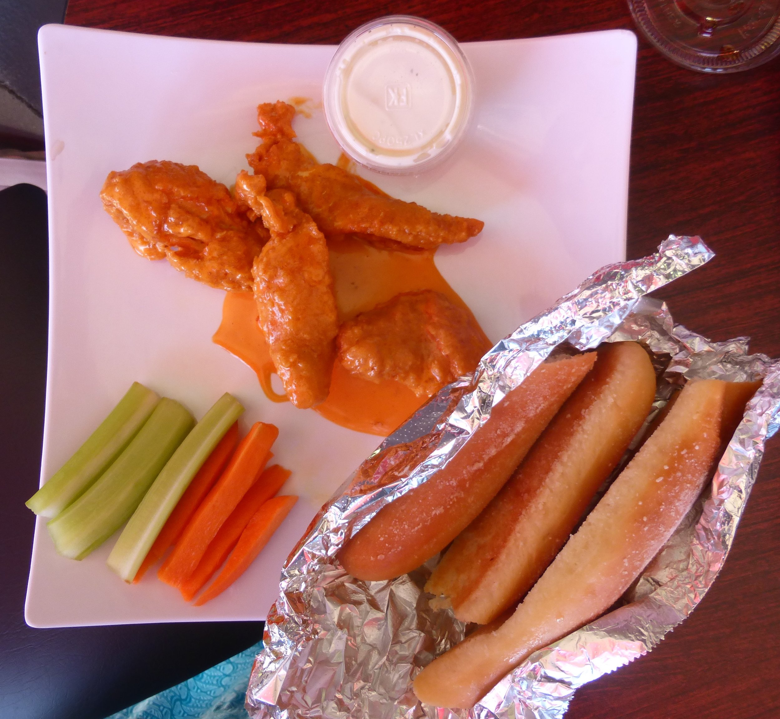 It looks and tastes the same as at our usual wings restaurant.  But the bread sticks are amazing!