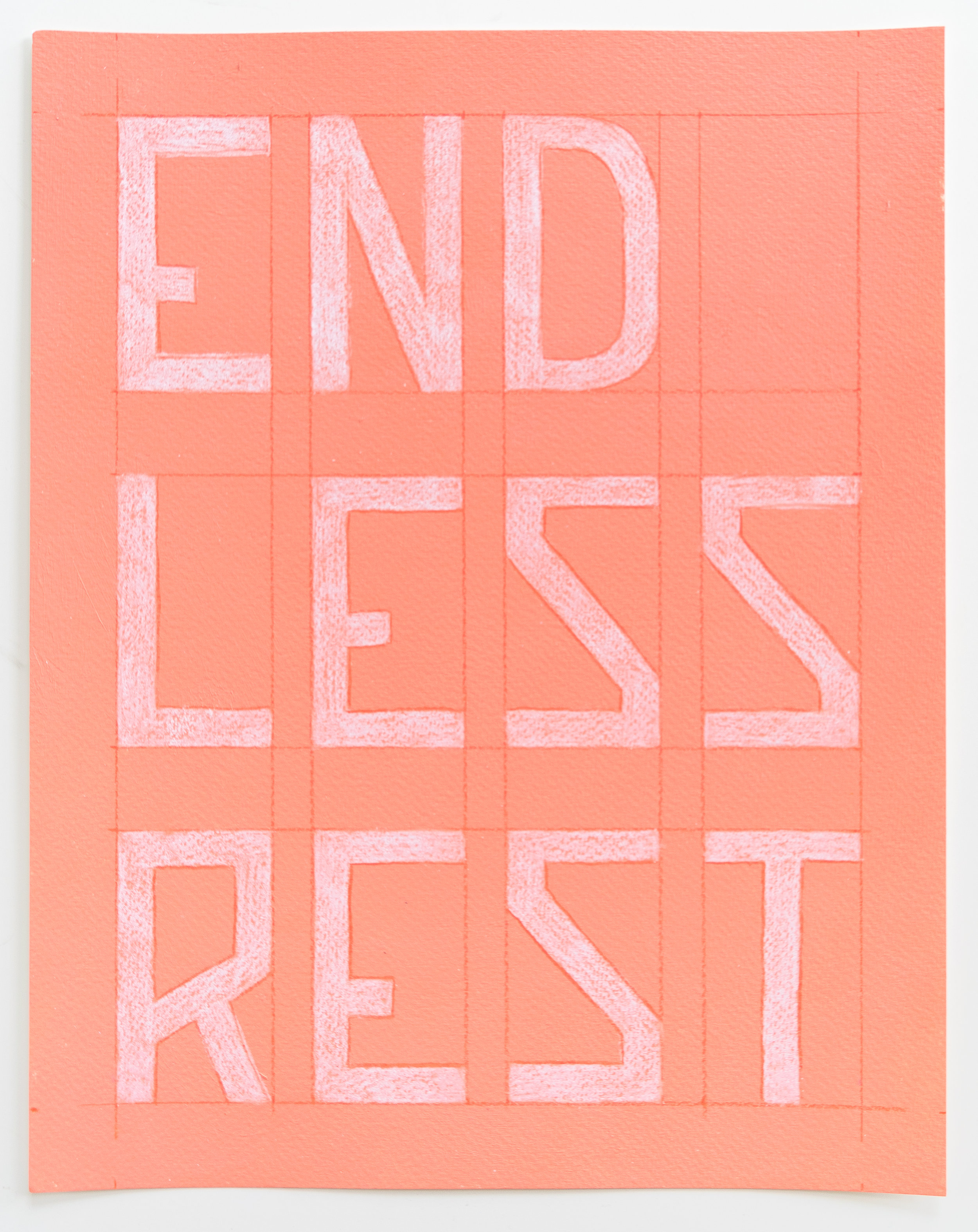 Endless Rest  Enamel, colored pencil, watercolor paper  11 x 14 inches  2017