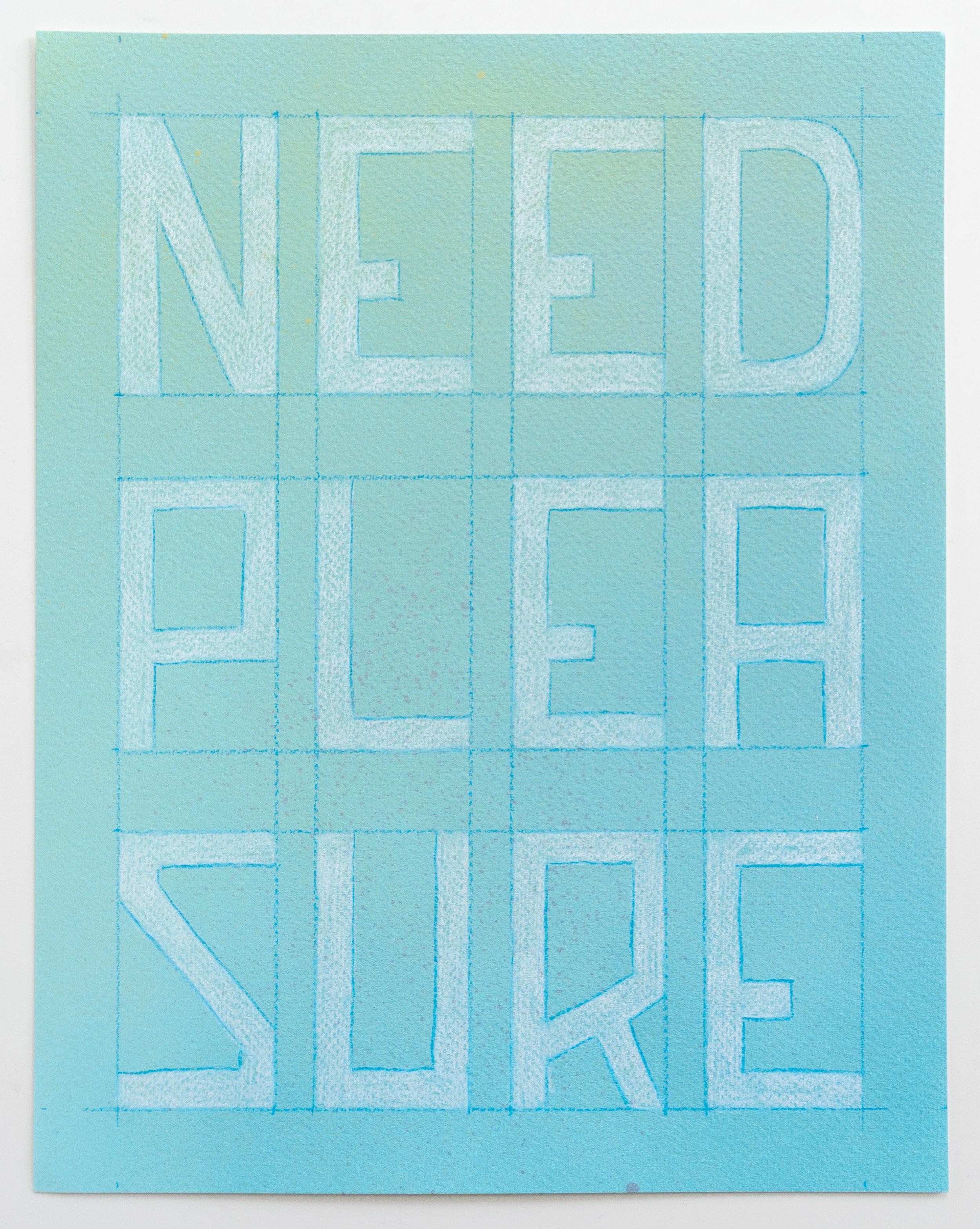Wants Versus Desire (Need Pleasure)  Enamel, colored pencil, watercolor paper  11 x 14 inches  2017