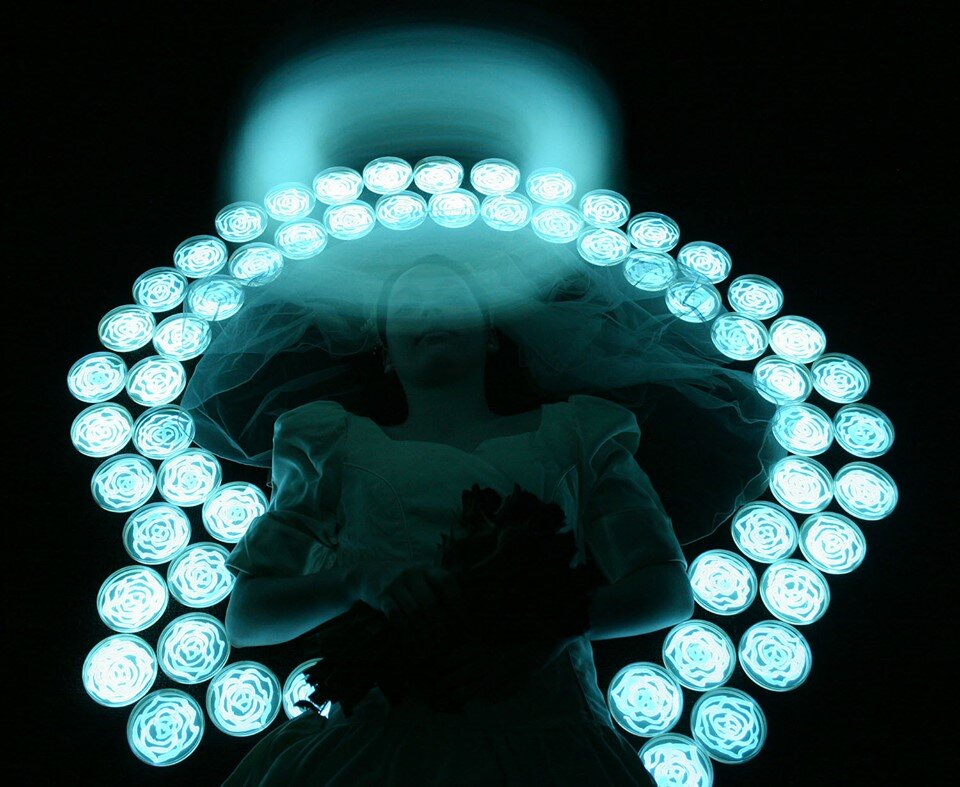 """Angel Bride,"" photograph by the light of bioluminescent bacteria, Hunter Cole."