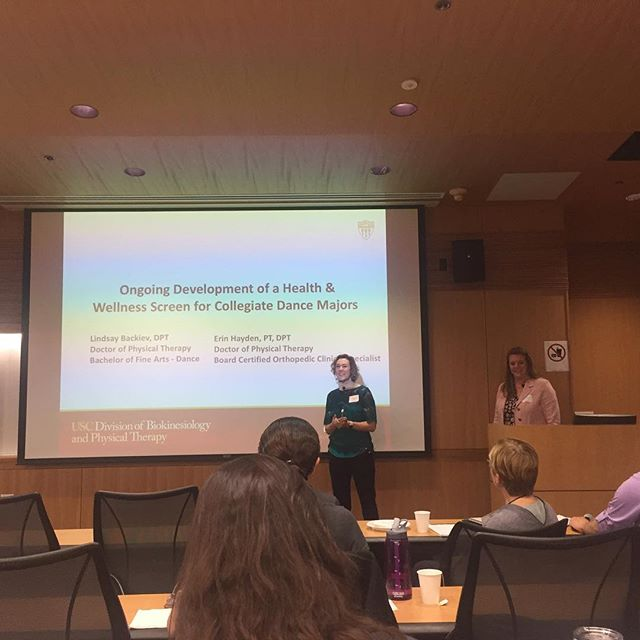 Our VP/COO Lindsay Backiev, DPT, BFA presenting with Erin Hayden, PT, DPT, OCS at this year's regional @_iadms_  conference in Los Angeles on collegiate dancer screening for injury prevention! A wonderful day of learning and networking with clinicians and dance educators! #IADMSinLA2018 #injuryprevention #dancerhealth #physicaltherapy